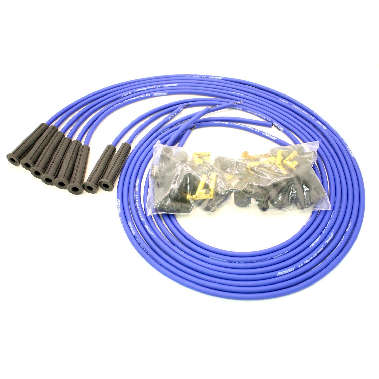 PerTronix 808380 Flame-Thrower Spark Plug Wires 8 cyl 8mm Universal 180 Degree Blue