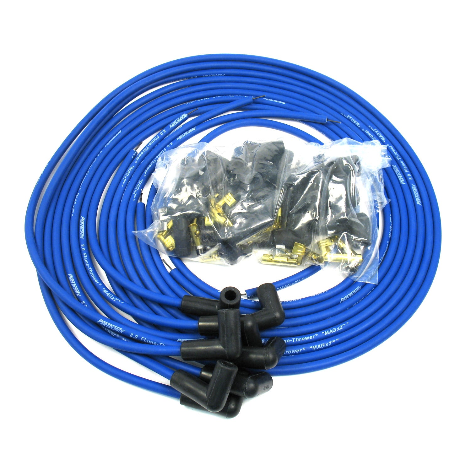 PerTronix 808390 Flame-Thrower Spark Plug Wires 8 cyl 8mm Universal 90 Degree Blue