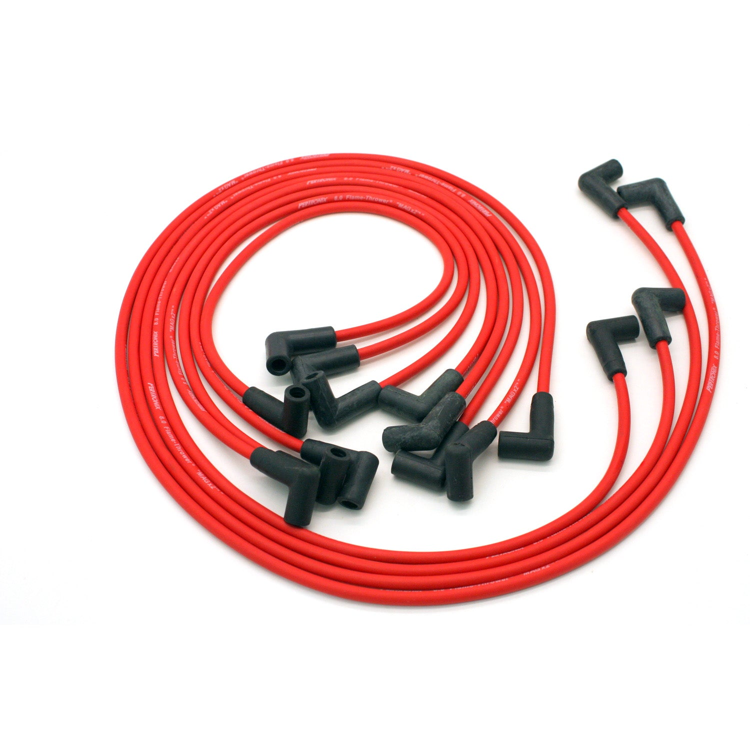 PerTronix 808419 Flame-Thrower Spark Plug Wires 8 cyl 8mm 74-82 Corvette HEI Custom Fit Red