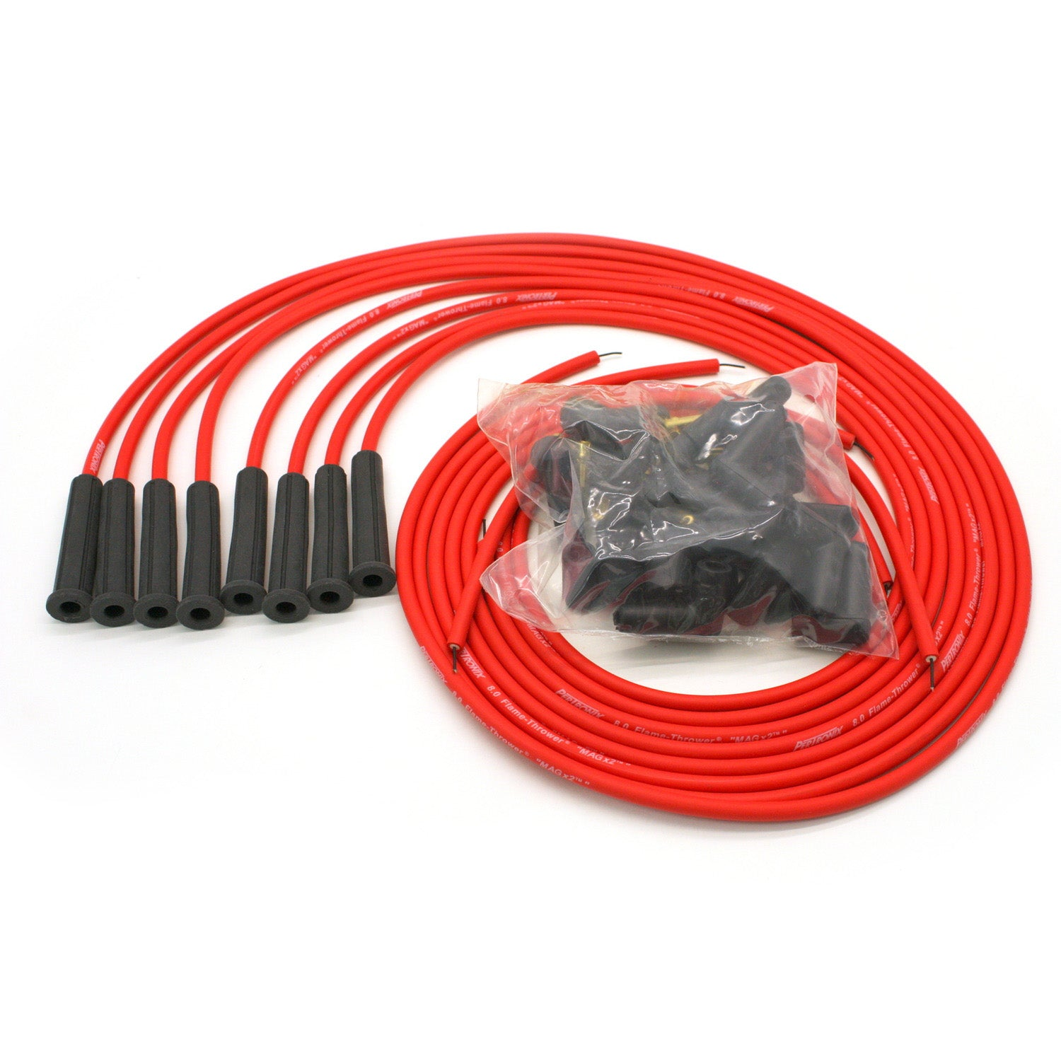 PerTronix 808480 Flame-Thrower Spark Plug Wires 8 cyl 8mm Universal 180 Degree Red