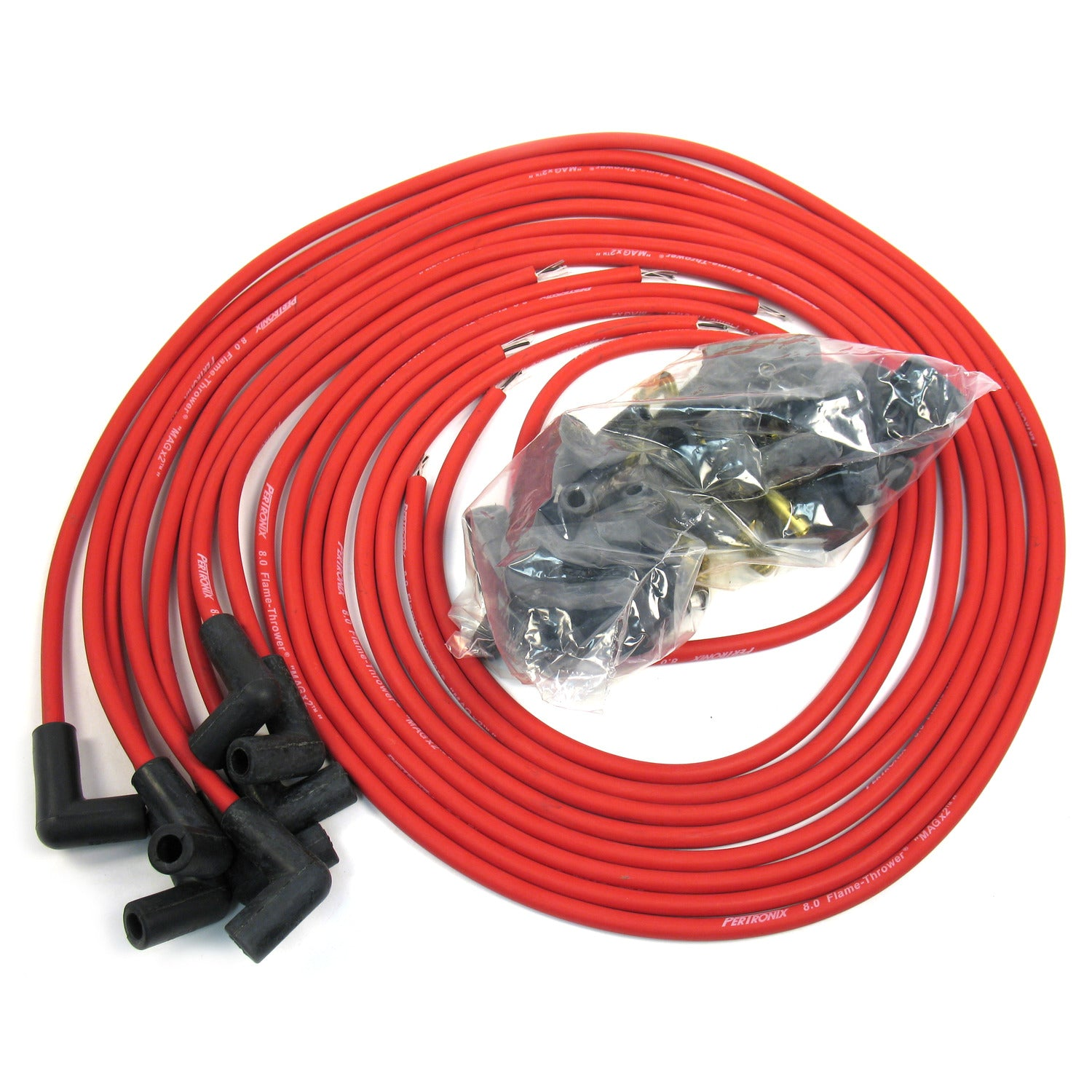 PerTronix 808490 Flame-Thrower Spark Plug Wires 8 cyl 8mm Universal 90 Degree Red