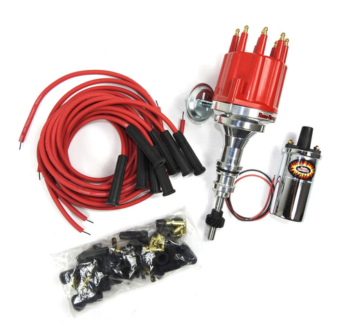 Pertronix Bundle007 Ignition Kit includes Ford SB Billet Plug n Play Distributor with Red Male Cap, Flame-Thrower II Chrome Coil, Flame-Thrower MAGx2 Universal Red Spark Plug Wires with 180 degree plug boot ends