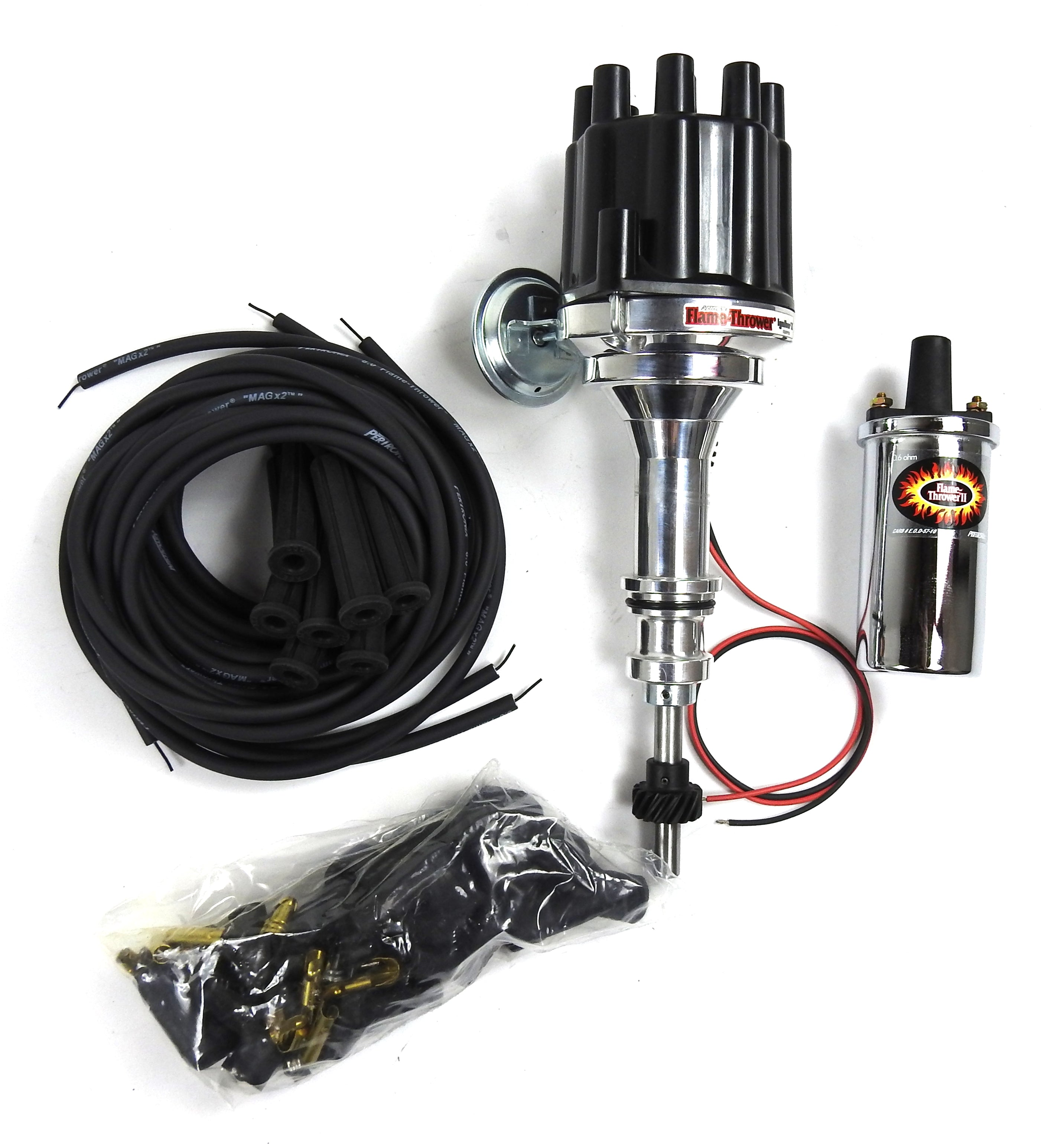 Pertronix Bundle008 Ignition Kit includes Ford 351W Billet Plug n Play Distributor with Black Female Cap, Flame-Thrower II Chrome Coil, Flame-Thrower MAGx2 Universal Black Spark Plug Wires with 180 degree plug boot ends