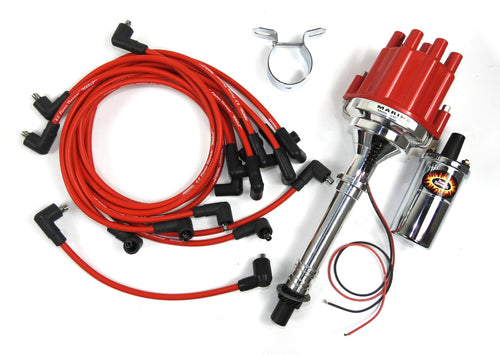Pertronix Bundle501 Ignition Kit includes Chevy SB/BB Billet Plug n Play Marine Distributor with Red Female Cap, Flame-Thrower II Chrome Coil, Chrome Coil Bracket, Flame-Thrower Marine MAGx2 Universal Red Spark Plug Wires with 90 degree plug boot ends