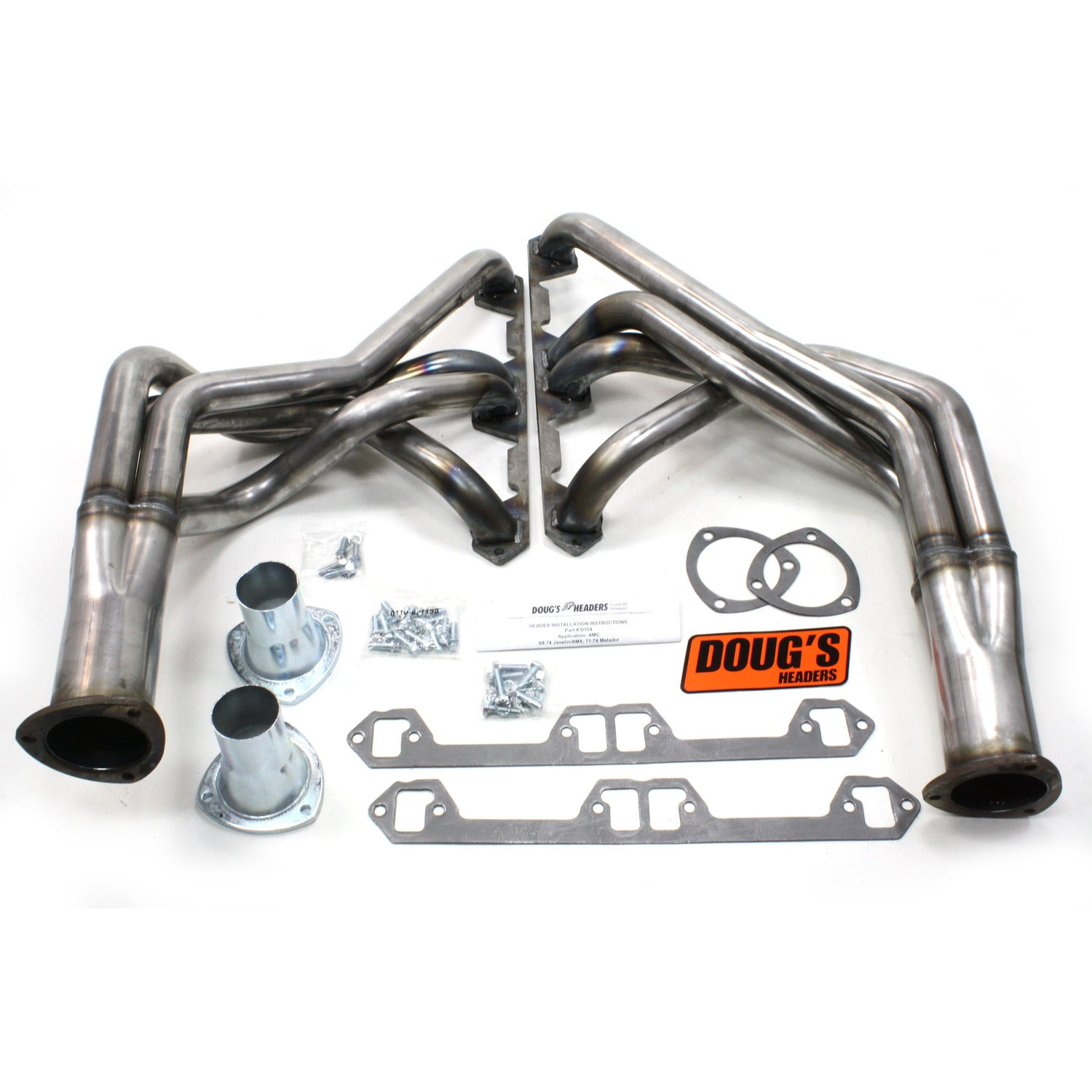 "Doug's Headers D104-R 1 7/8"" 4-Tube Full Length Header AMC Javelin 68-74 Raw Steel"