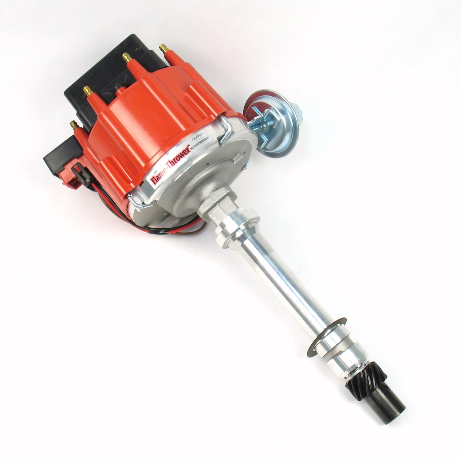 PerTronix D1051 Flame-Thrower Distributor HEI Chevrolet Small Block/Big Block Red Cap Machine Polished