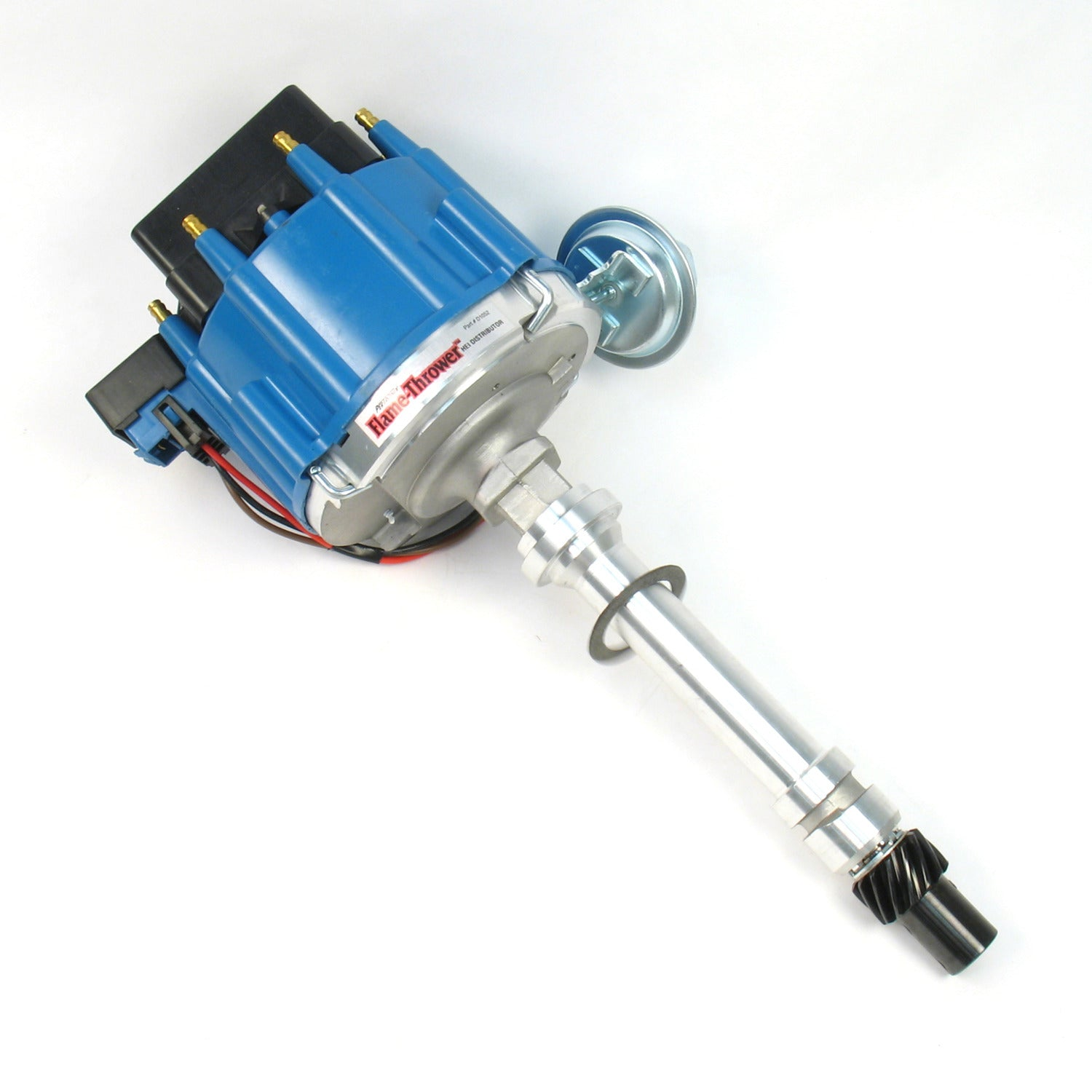 PerTronix D1052 Flame-Thrower Distributor HEI Chevrolet Small Block/Big Block Blue Cap Machine Polished