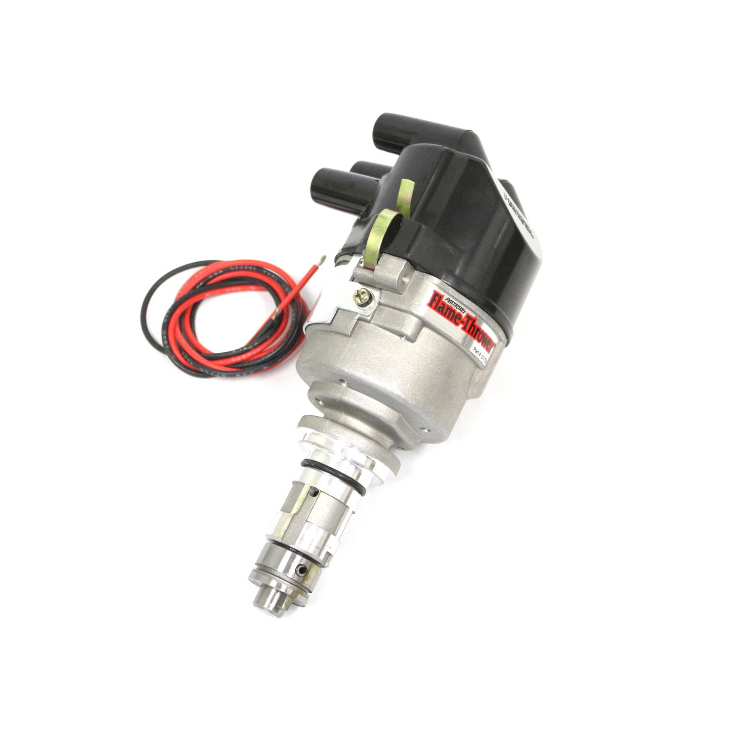 PerTronix D176629 Flame-Thrower Electronic Distributor Cast British 4 cyl Plug and Play with Ignitor Non Vacuum Advance Side Cap