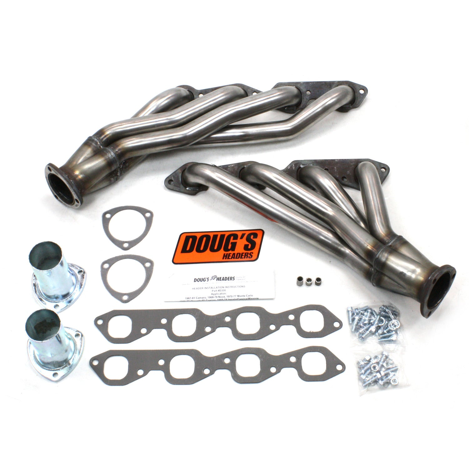 "Doug's Headers D306-R 1 3/4"" 4-Tube Shorty Header Chevrolet Camaro Big Block Chevrolet 67-81 Raw Steel"