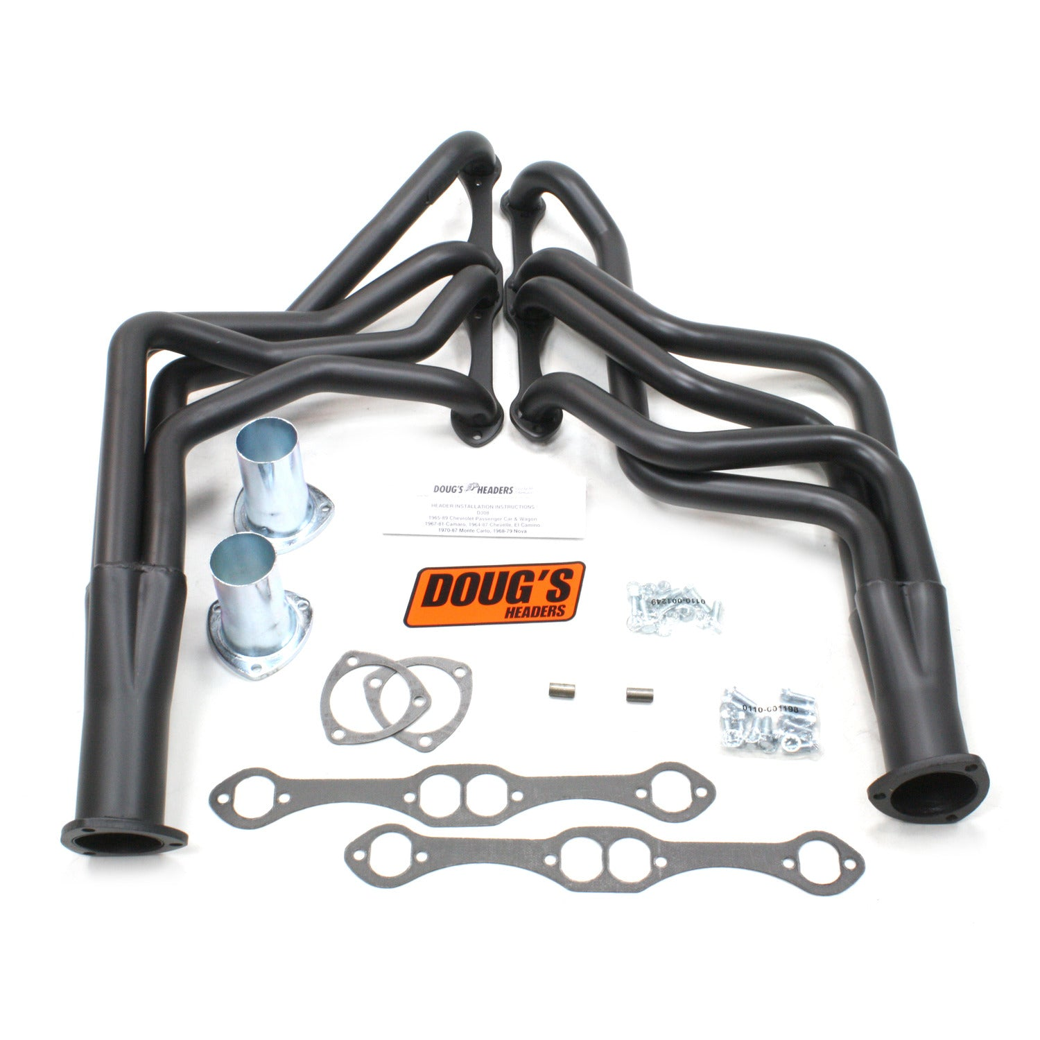 "Doug's Headers D308-B 1 5/8"" 4-Tube Full Length Header Chevrolet 67-81 Camaro 64-77 Chevelle/Malibu 64-77 El Camino 70-77 Monte Carlo 65-89 Passenger Car/Wagon 265-400 Chevrolet Engine Hi-Temp Black Coating"