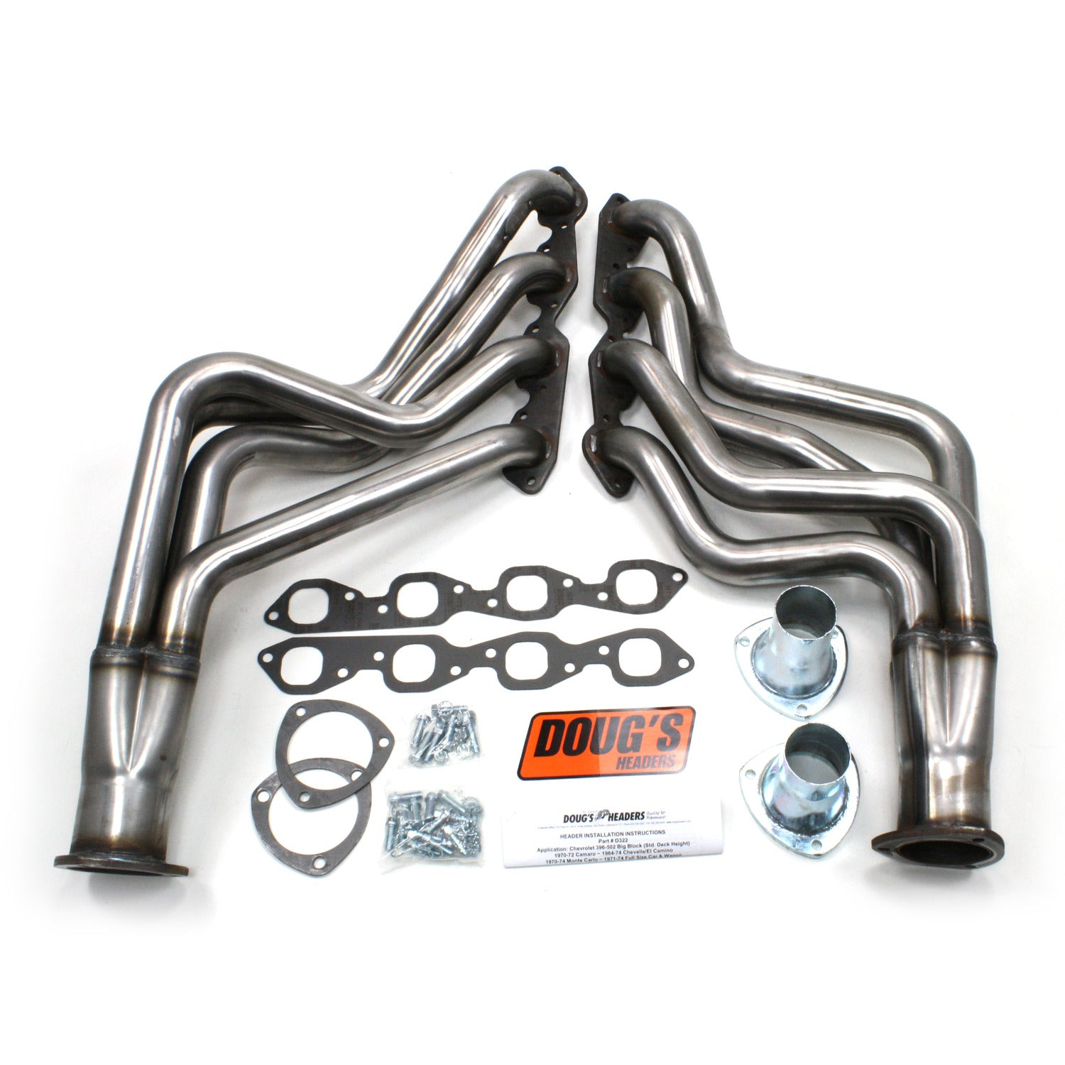 "Doug's Headers D322-R 2"" 4-Tube Full Length Header Chevrolet Chevelle Big Block Chevrolet 64-67 Raw Steel"
