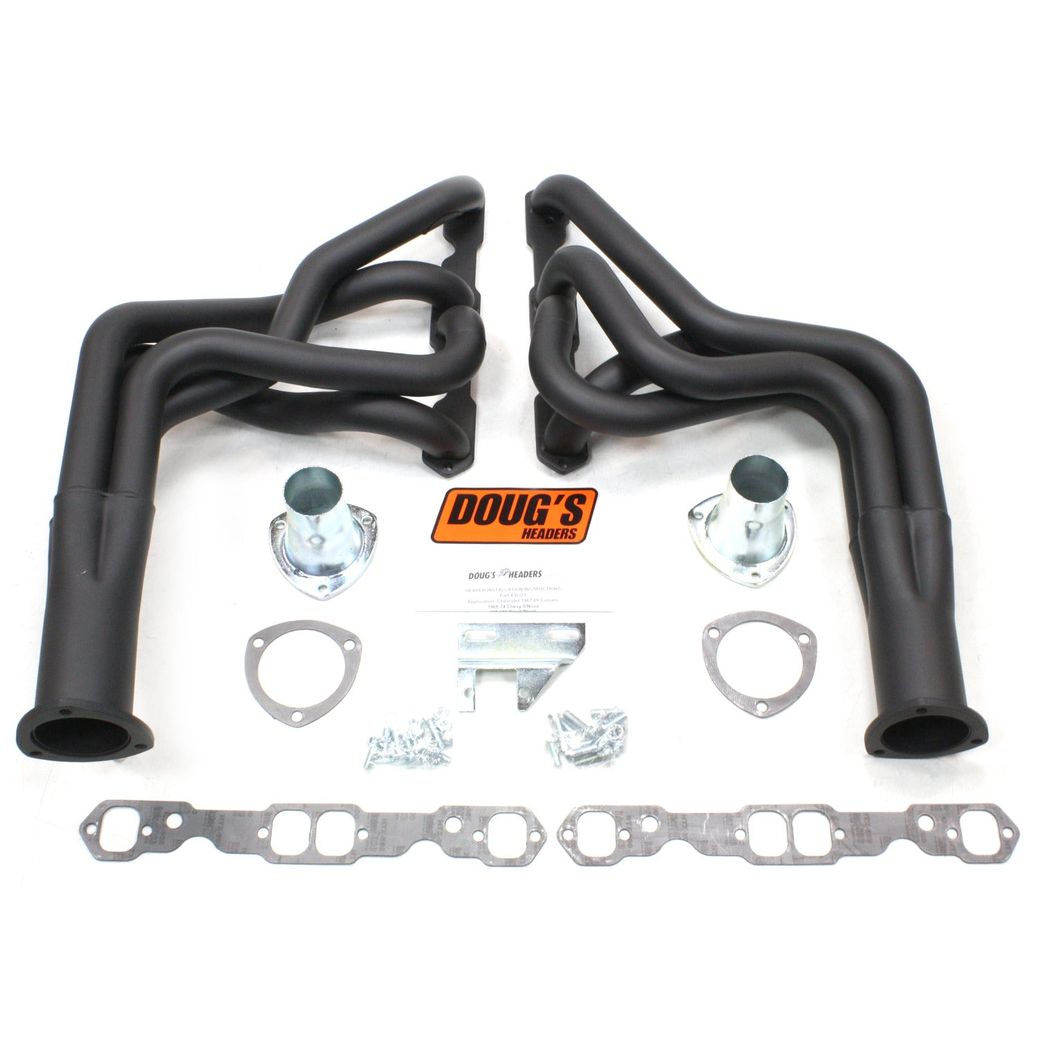 "Doug's Headers D323-B 1 7/8"" 4-Tube Full Length Header Camaro Small Block Chevrolet 67-69 Hi-Temp Black Coating"
