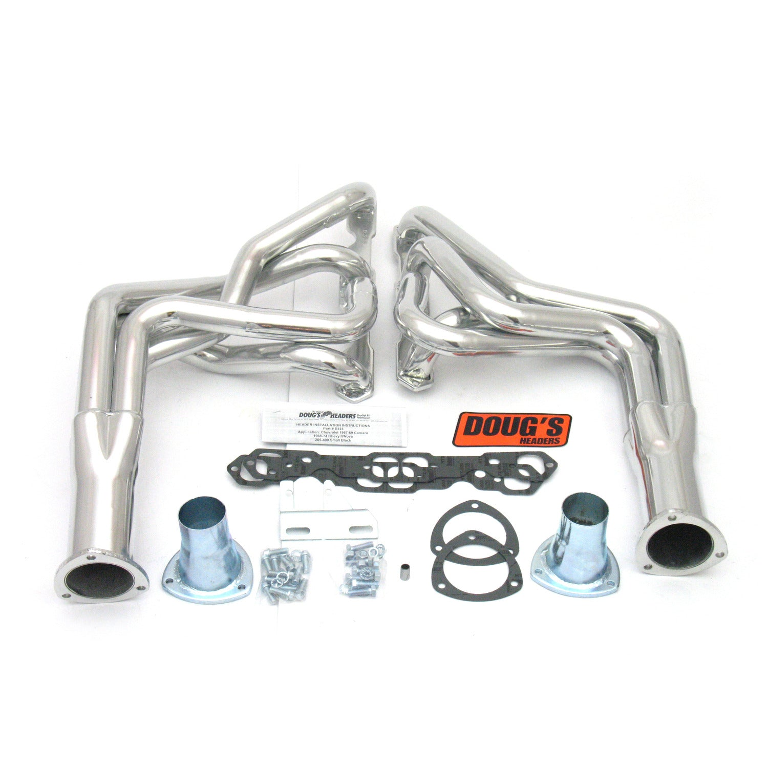 "Doug's Headers D323 1 7/8"" 4-Tube Full Length Header Camaro Small Block Chevrolet 67-69 Metallic Ceramic Coating"