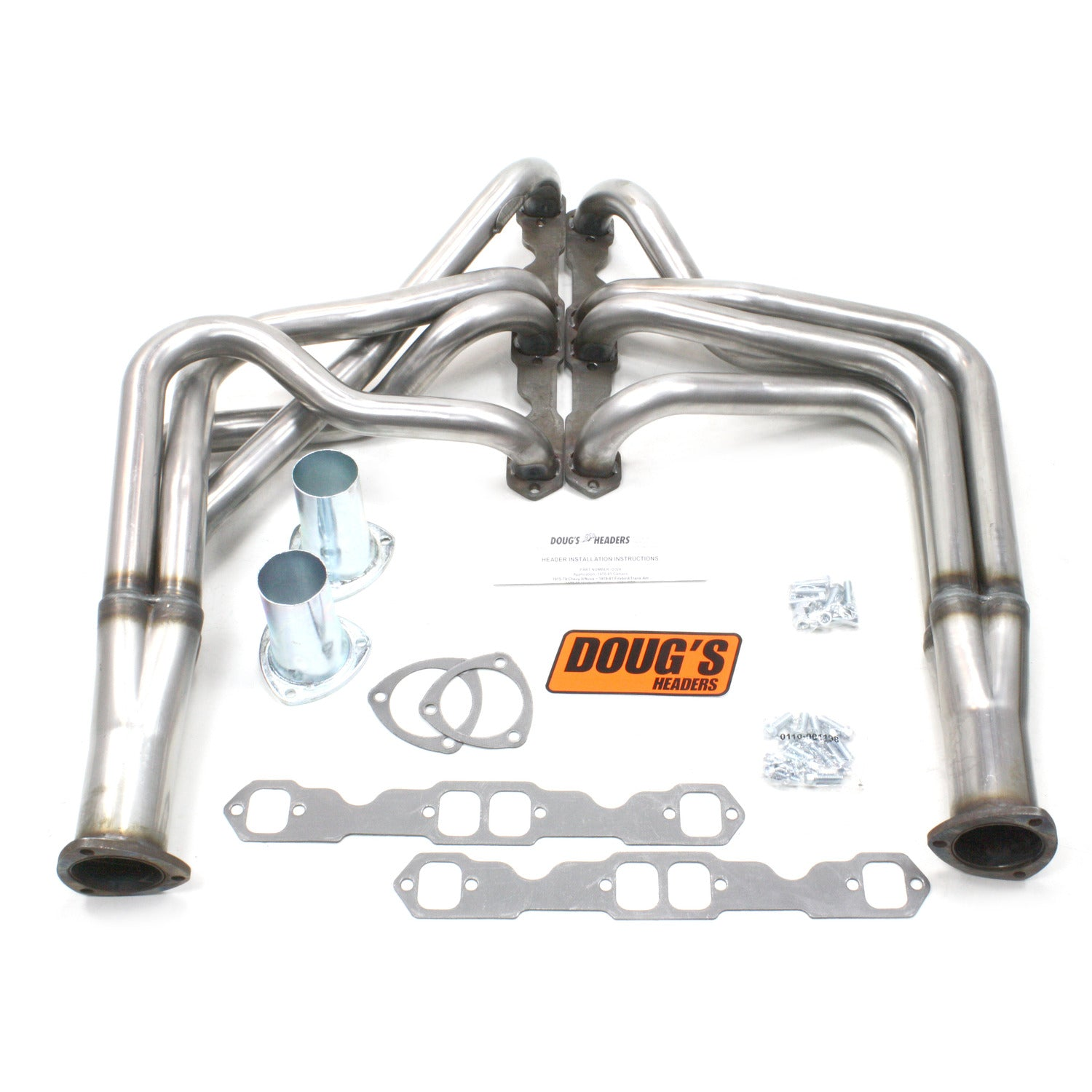 "Doug's Headers D324-R 1 3/4"" 4-Tube Full Length Header Camaro Small Block Chevrolet 70-81 Raw Steel"