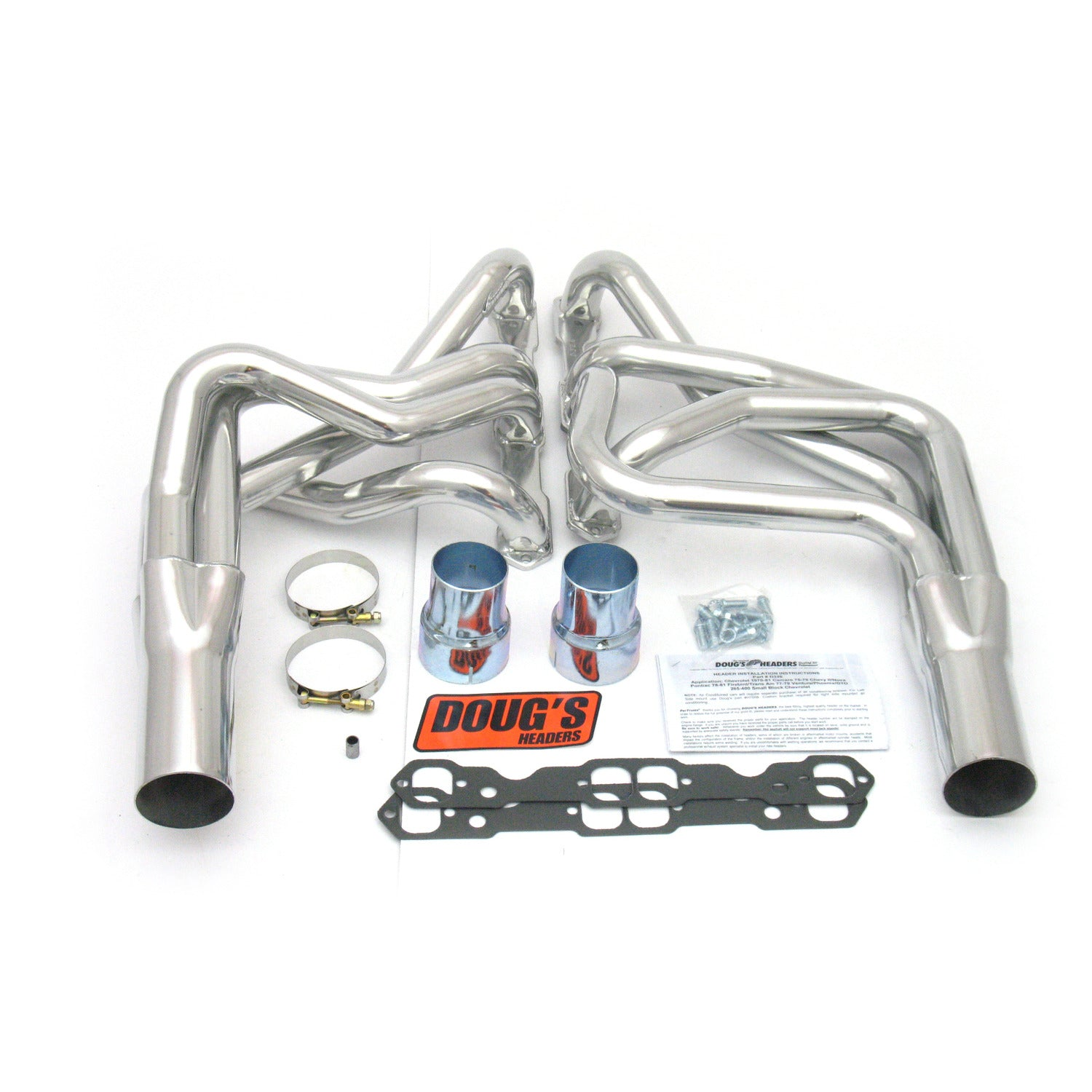 "Doug's Headers D326 1 7/8"" 4-Tube Full Length Header Camaro Small Block Chevrolet 70-81 Metallic Ceramic Coating"