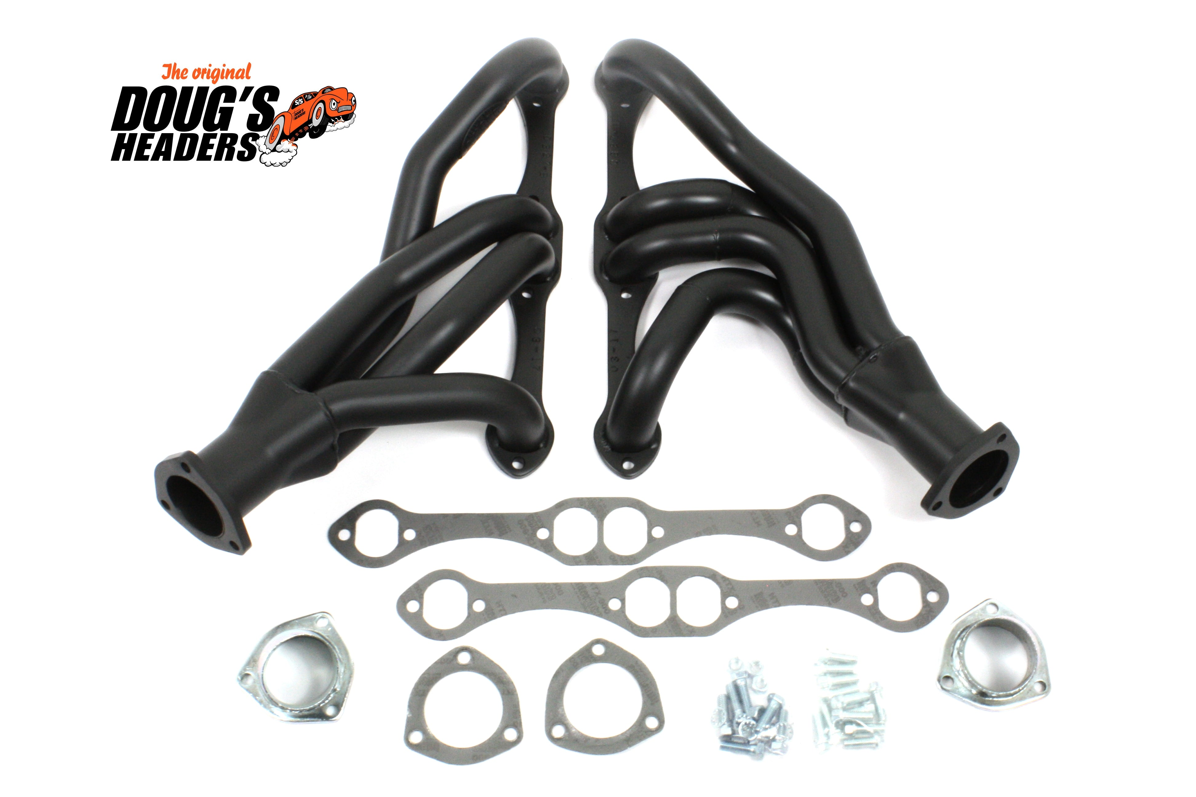 "Doug's Headers D327-B 1 5/8"" 4-Tube Shorty Header Chevrolet/Chevy II, Nova 265-400 Small block with a Detroit Speed rack front clip conversion Hi-Temp Black Coating"