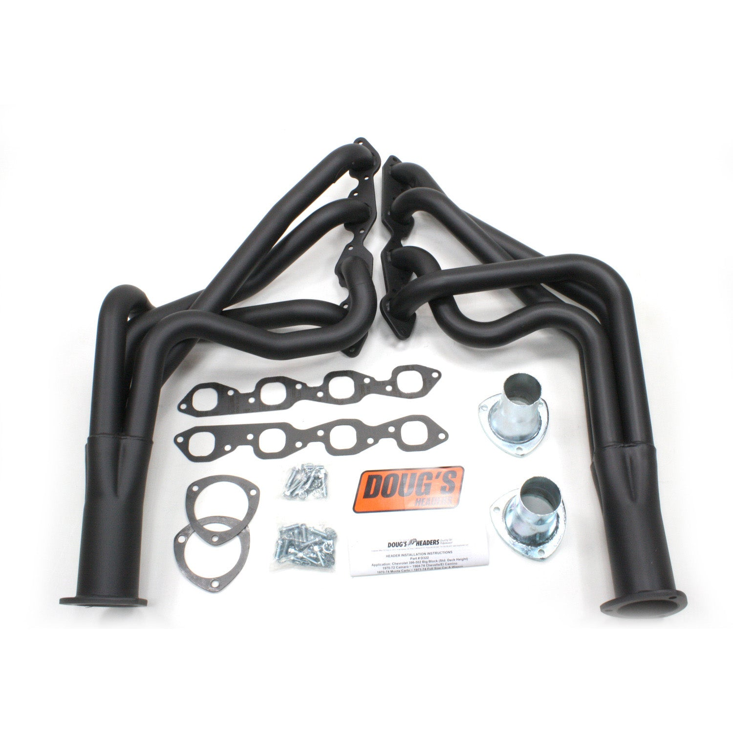 "Doug's Headers D328-B 1 7/8"" 4-Tube Full Length Header Camaro Big Block Chevrolet 67-69 Hi-Temp Black Coating"