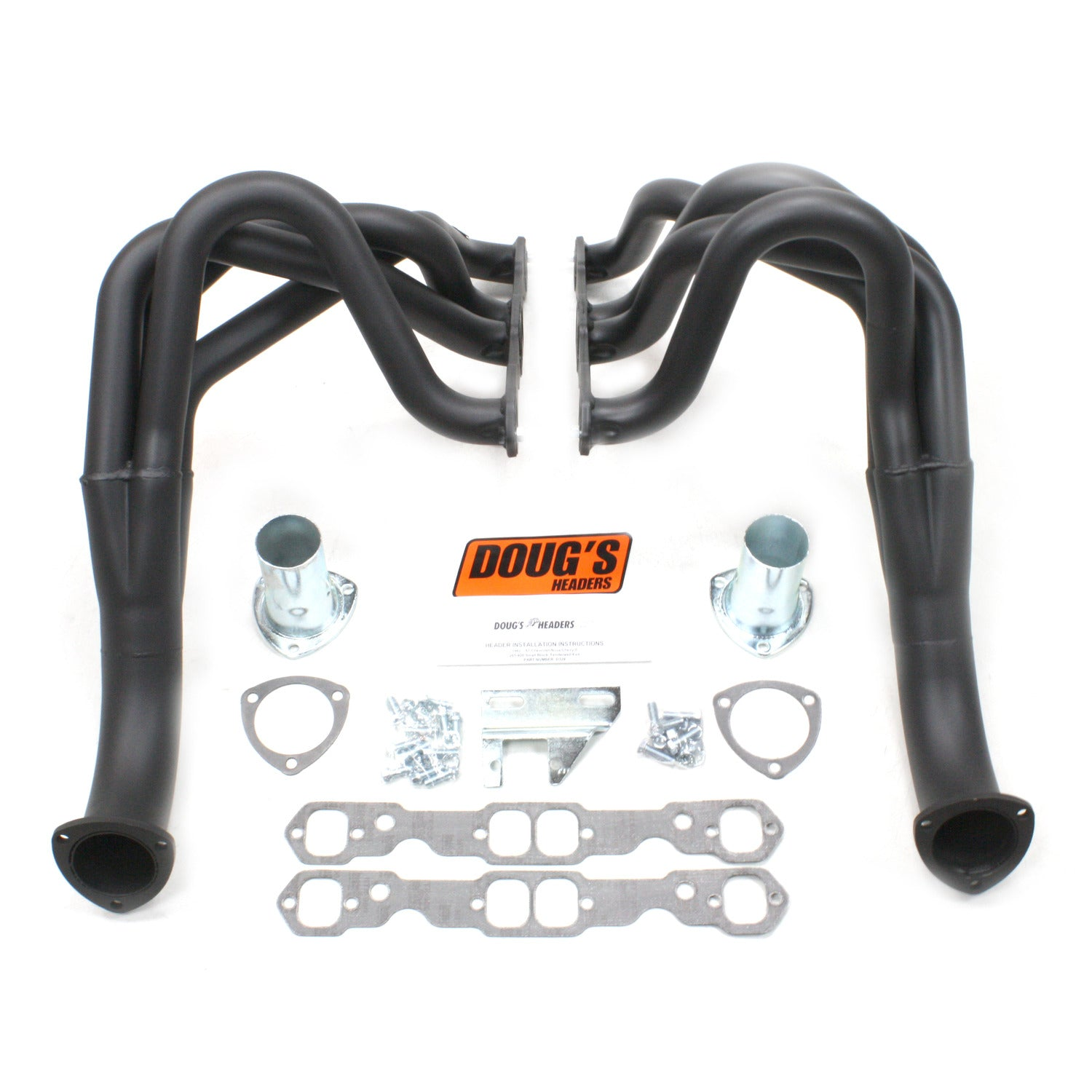 "Doug's Headers D329-B 1 3/4"" 4-Tube Full Length Header Chevy II Small Block Chevrolet 62-67 Hi-Temp Black Coating"