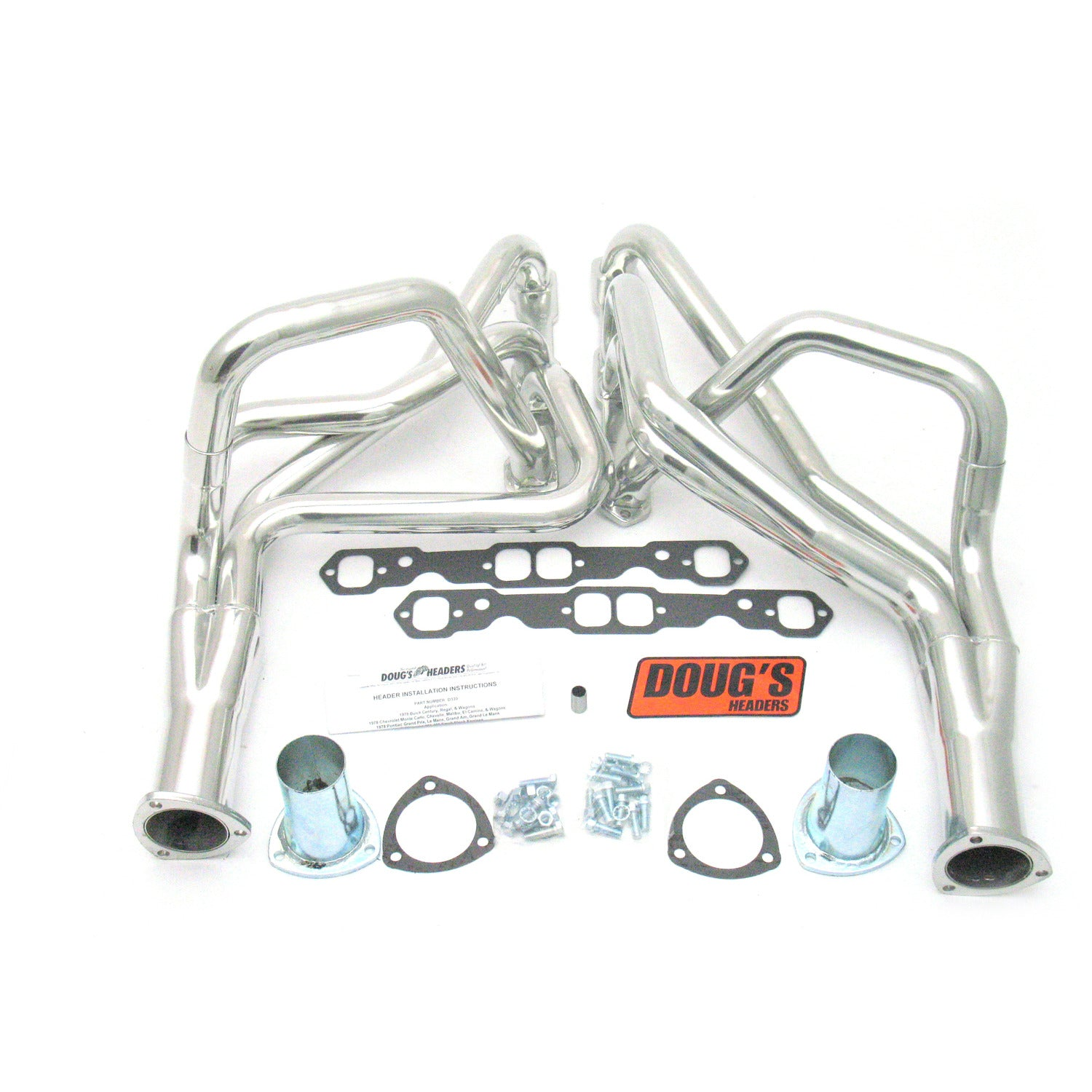 "Doug's Headers D330 1 3/4"" 4-Tube Full Length Header Chevelle Small Block Chevrolet 78-87 Metallic Ceramic Coating"