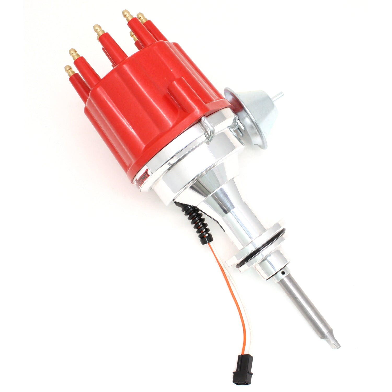 PerTronix D343711 Flame-Thrower Electronic Distributor Billet Magnetic Trigger Chrysler/Dodge/Plymouth 413-440 & 426 Hemi Red Male Cap Vacuum Advance