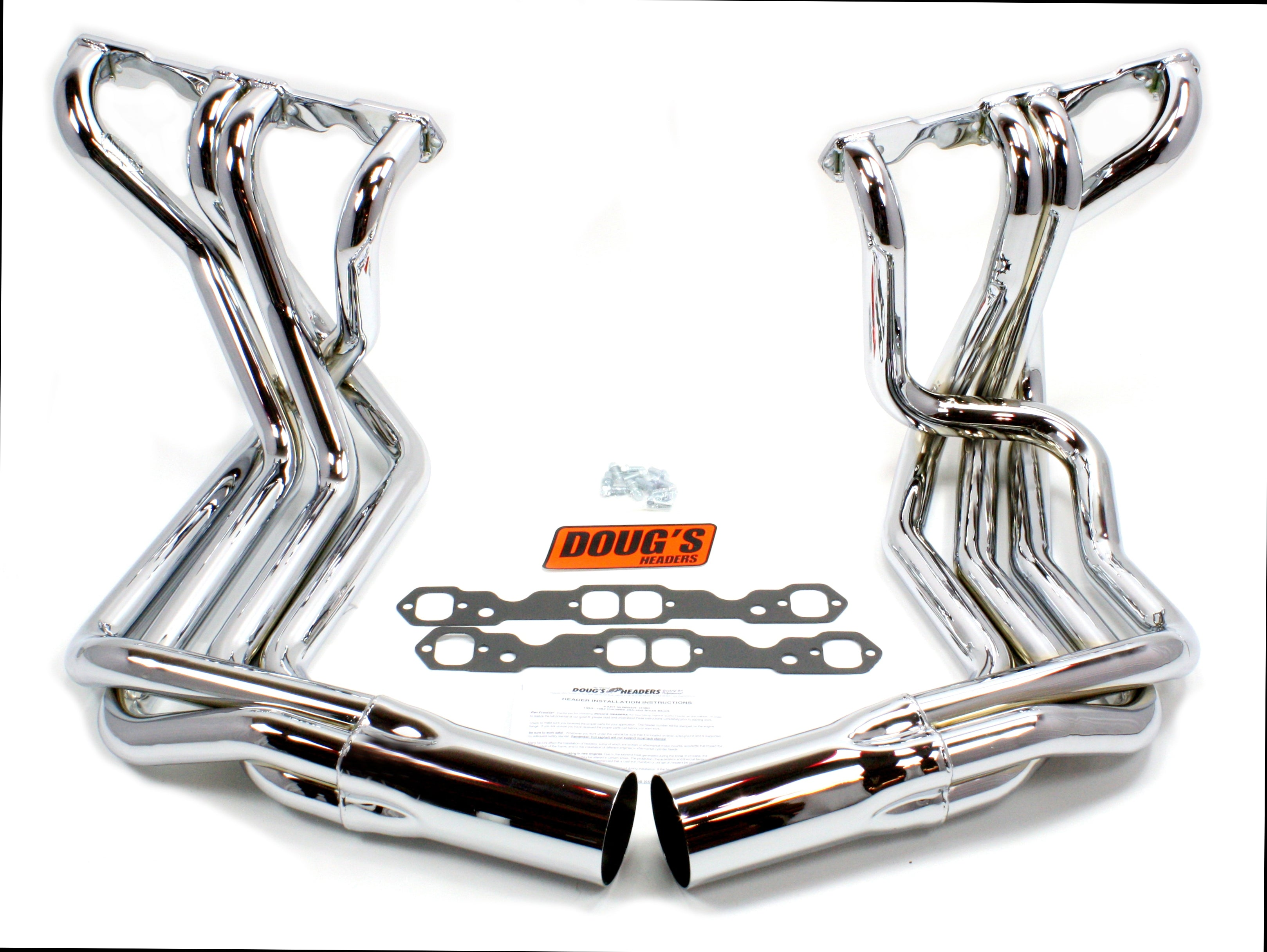 "Doug's Headers D380-SS 1 7/8"" 4-Tube Full Length Header Chevrolet Corvette Small Block Chevrolet 63-82 Sidemount Polished 304 Stainless Steel"