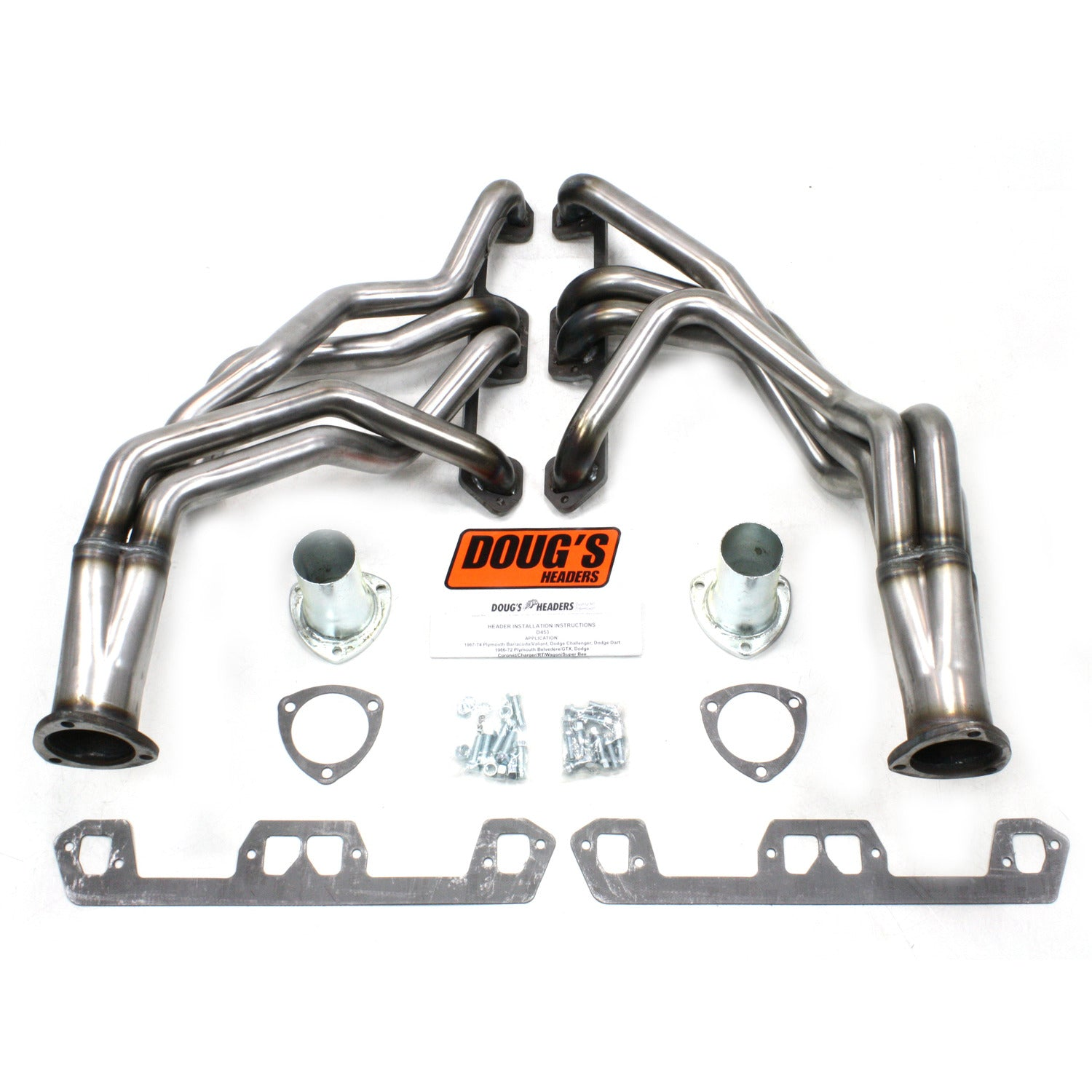 "Doug's Headers D453-R 1 5/8"" 4-Tube Full Length Header Mopar A Body Small Block Mopar 67-72 Raw Steel"