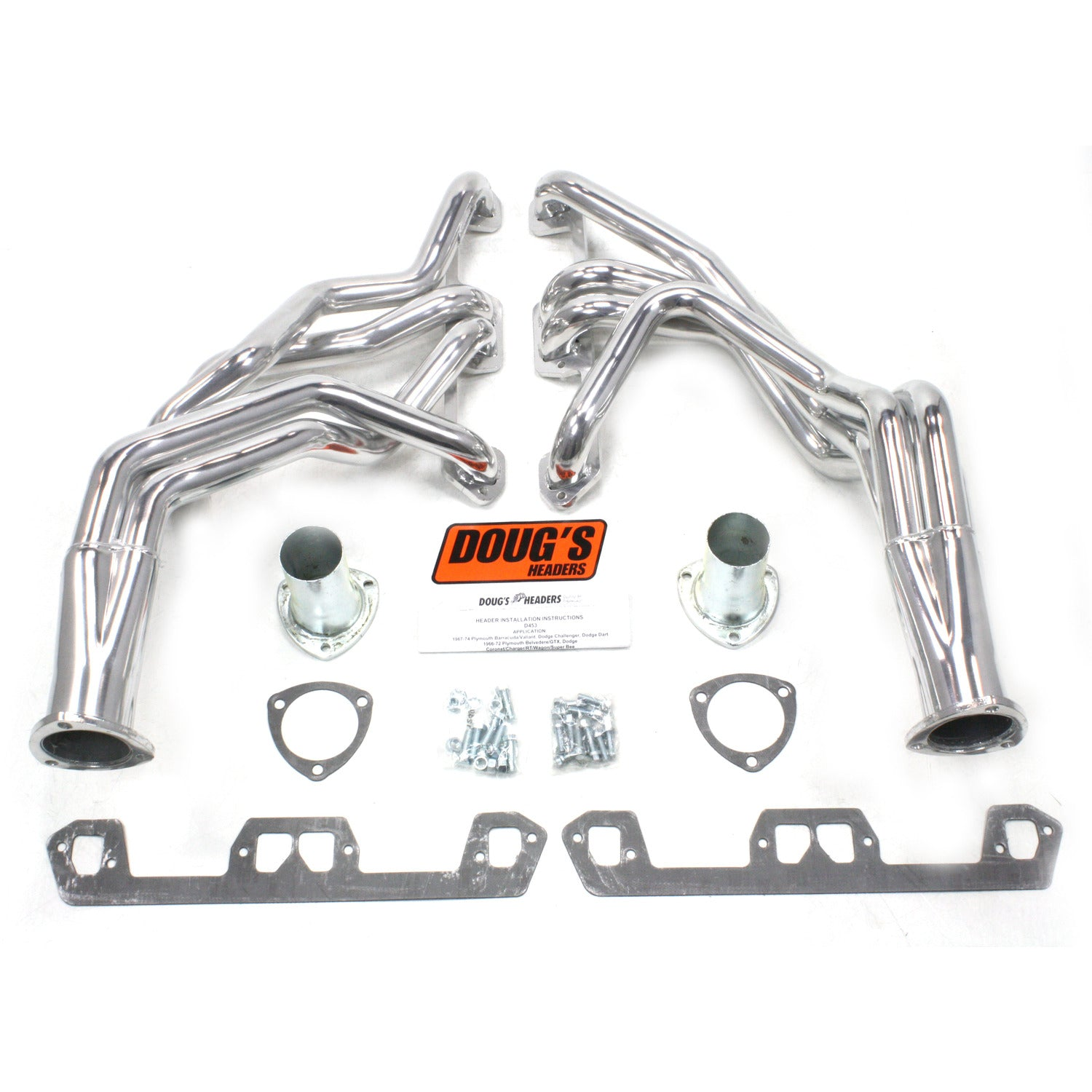 "Doug's Headers D453 1 5/8"" 4-Tube Full Length Header Mopar A Body Small Block Mopar 67-72 Metallic Ceramic Coating"
