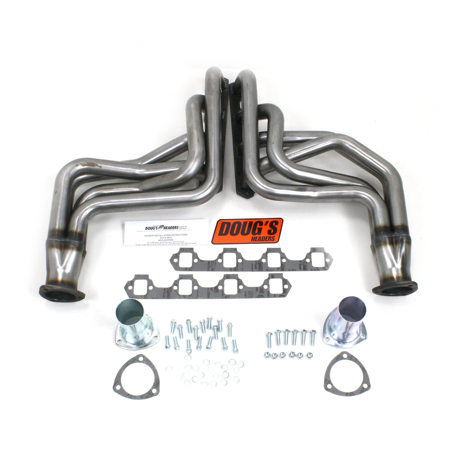 "Doug's Headers D623-R 1 3/4"" 4-Tube Full Length Header Ford Mustang  64-73 Cougar 67-68 Fairlane 66-67 Falcon 60-65 Comet 62-65 Ranchero 60-67 260-351W with TCI or similar Mustang II Steering Swap Raw Steel"