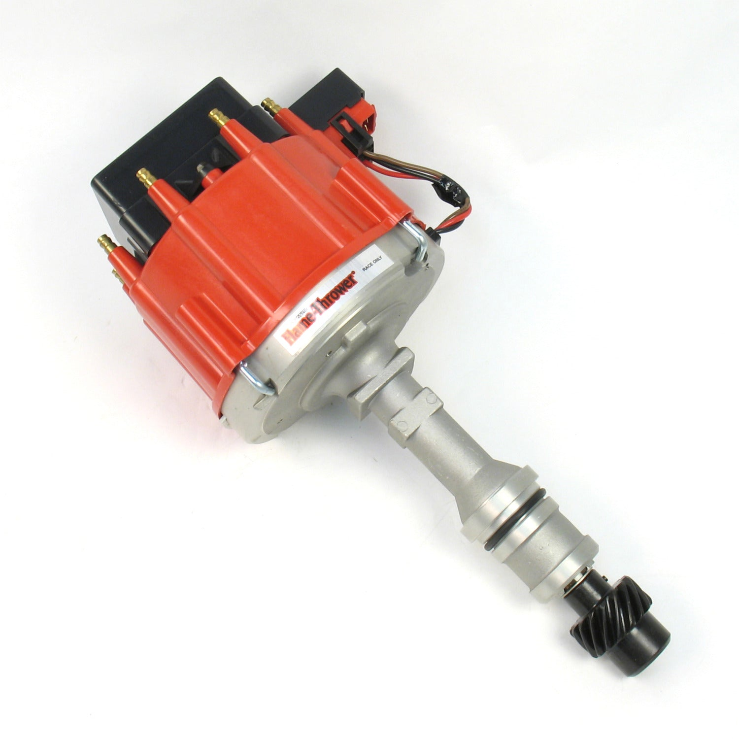 PerTronix D71171 Flame-Thrower Race Distributor HEI III Oldsmobile 260-455 Red Cap with multiple sparks and an adjustable digital rev limiter