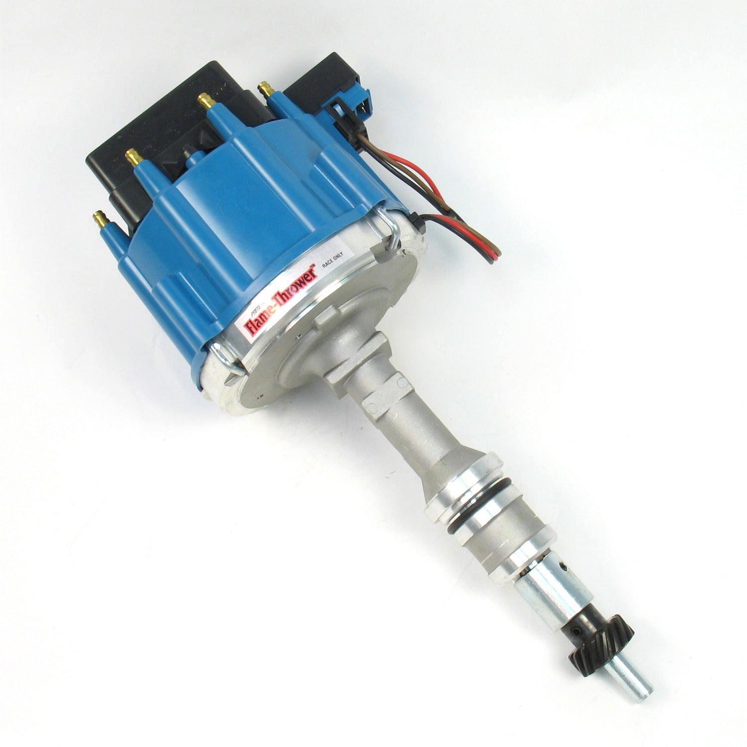 PerTronix D71372 Flame-Thrower Race Distributor HEI III Ford Small Block Blue Cap with multiple sparks and an adjustable digital rev limiter