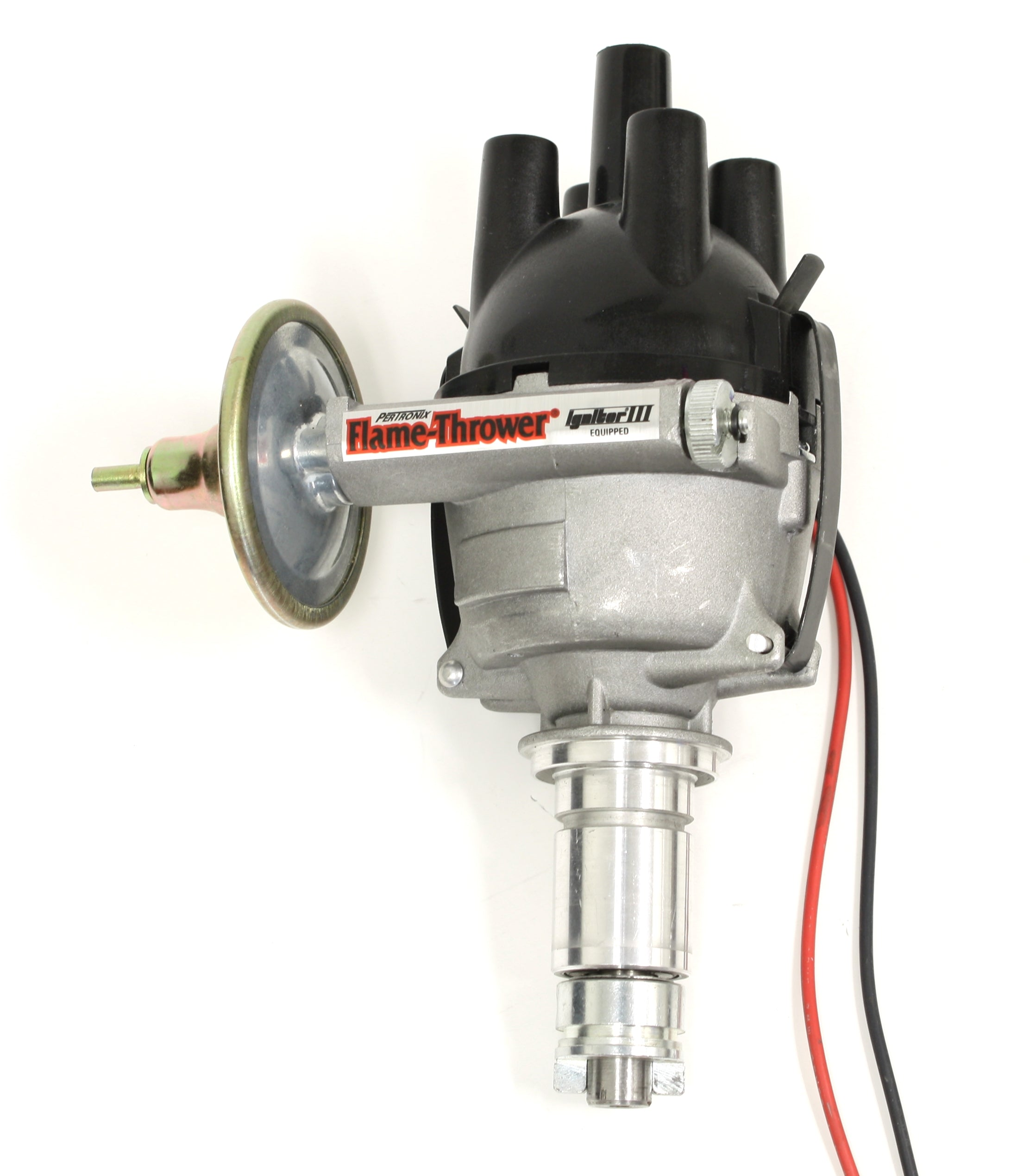PerTronix D7173420 Flame-Thrower Electronic Distributor Top Exit Cast British 23D Plug and Play with Ignitor III Vac Adv