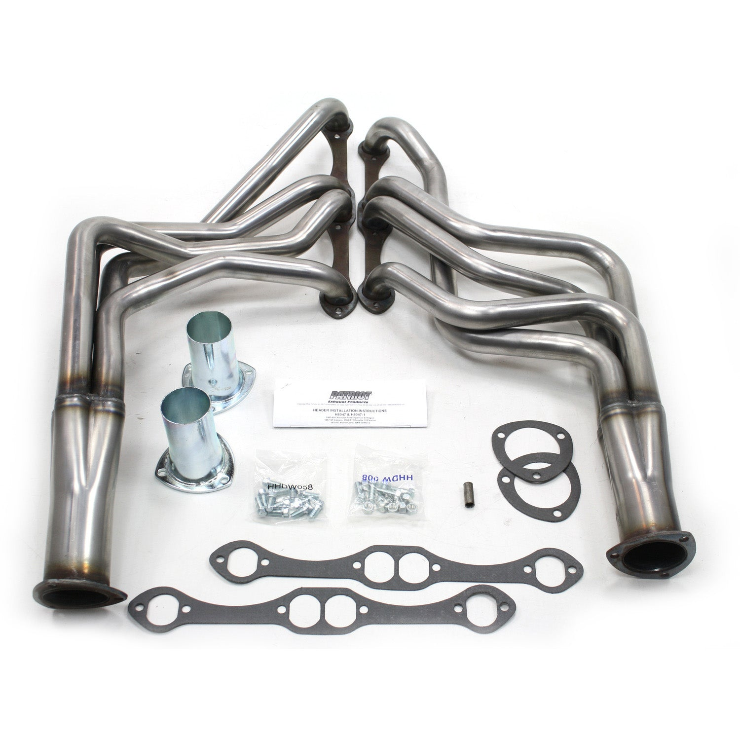 "Patriot Exhaust H8047 1 5/8"" Full Length Header Chevrolet 67-81 Camaro 64-77 Chevlle/Malibu 70-77 Monte Carlo 65-89 Passenger Car/Wagon 265-400 Chevrolet Engine Raw Steel"