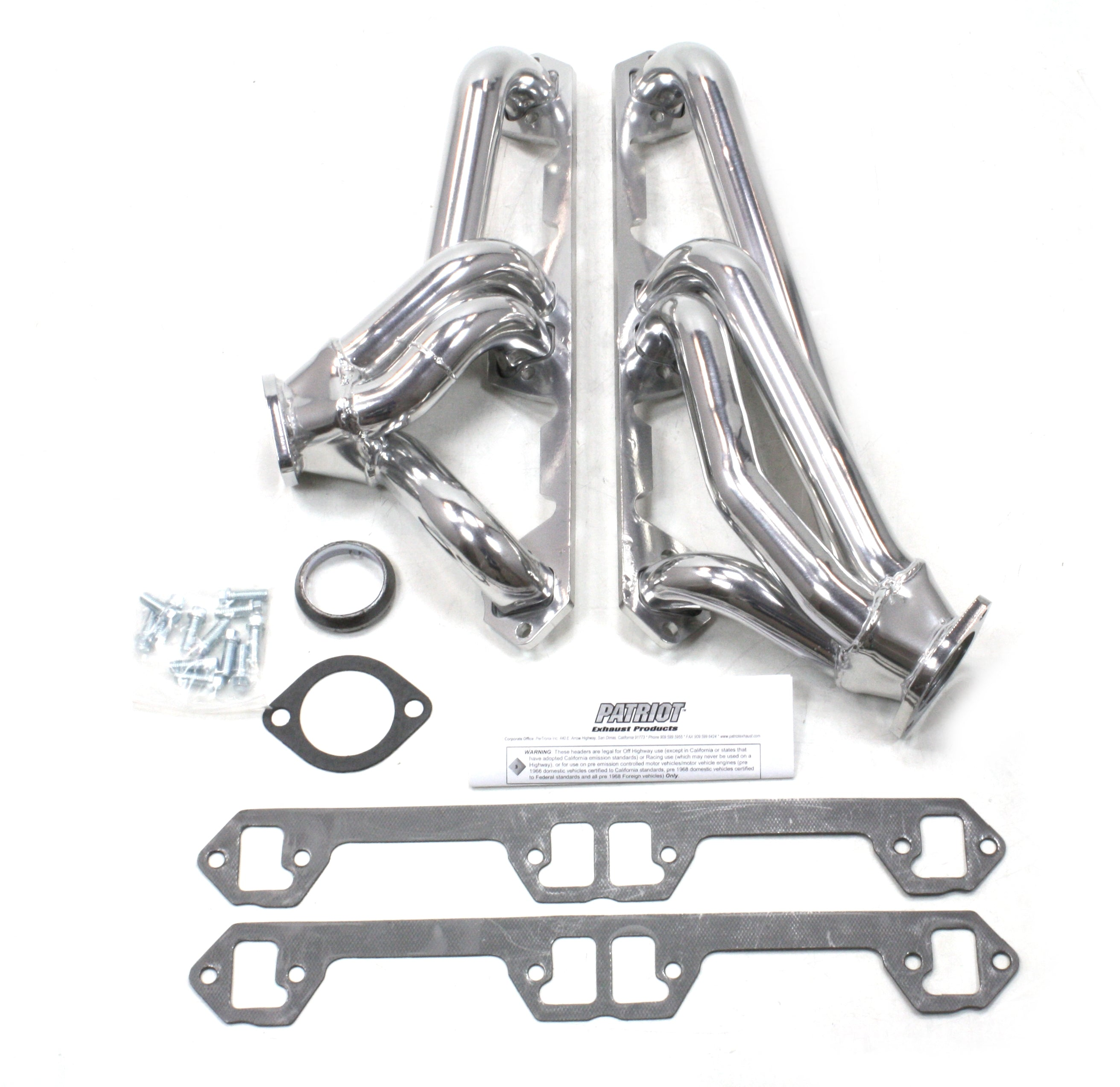 "Patriot Exhaust H8600-1 1 5/8"" Clippster Direct Replacement  Header with dog leg ports 68-70 AMX, Javelin, Rebel, Ambassador 290-390 71-74 Javelin, Rebel, Ambassador 304-401 72-79 CJ5,7,8, Cherokee 74-83, Wagoneer 71-91, J10, J20 71-88 Cherokee Metallic C"
