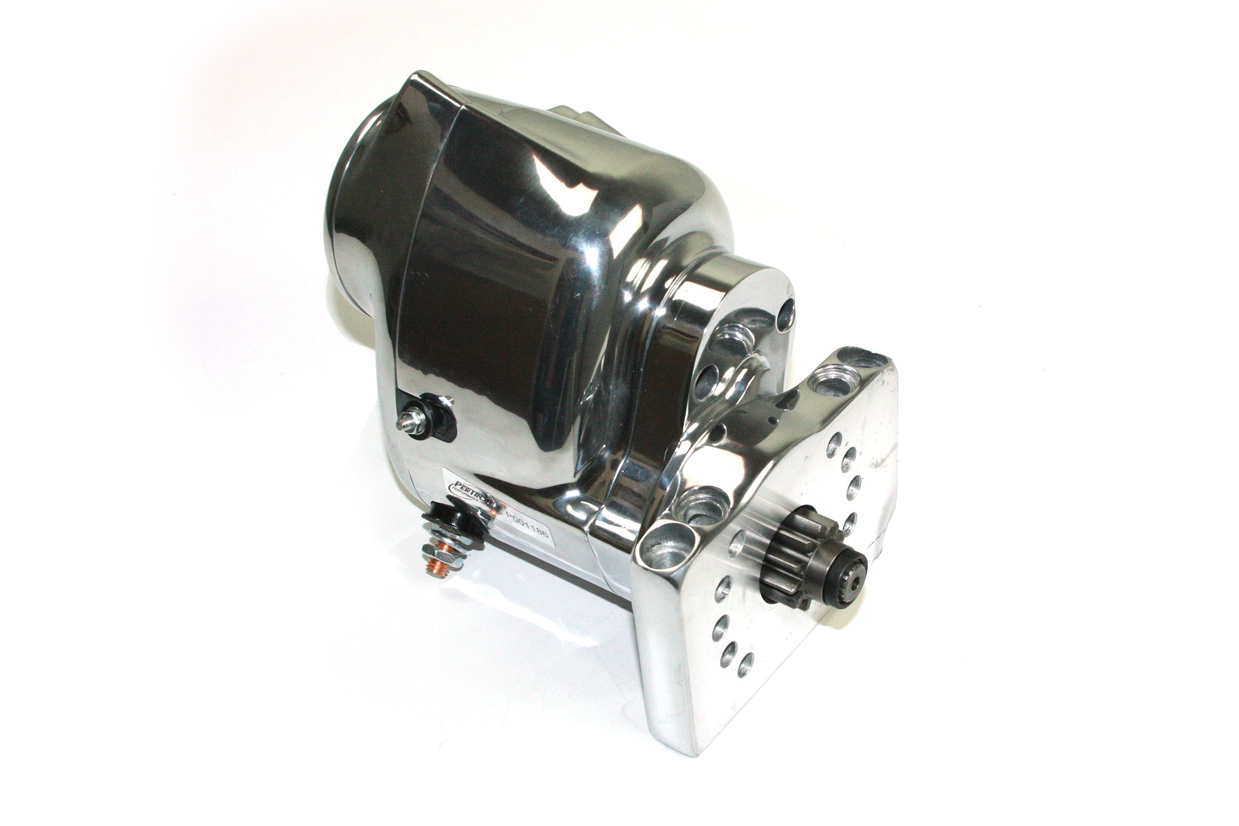 Pertronix part number S3000P-M Contour Marine Starter 1964-2000 Chevrolet SB/BB, 153T and 168T flywheels, 1963-74 L6 (230, 250, 292 engines) with straight botl pattern, polished finish