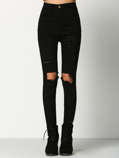 Black Skinny Ripped Denim Pant-AcDrift