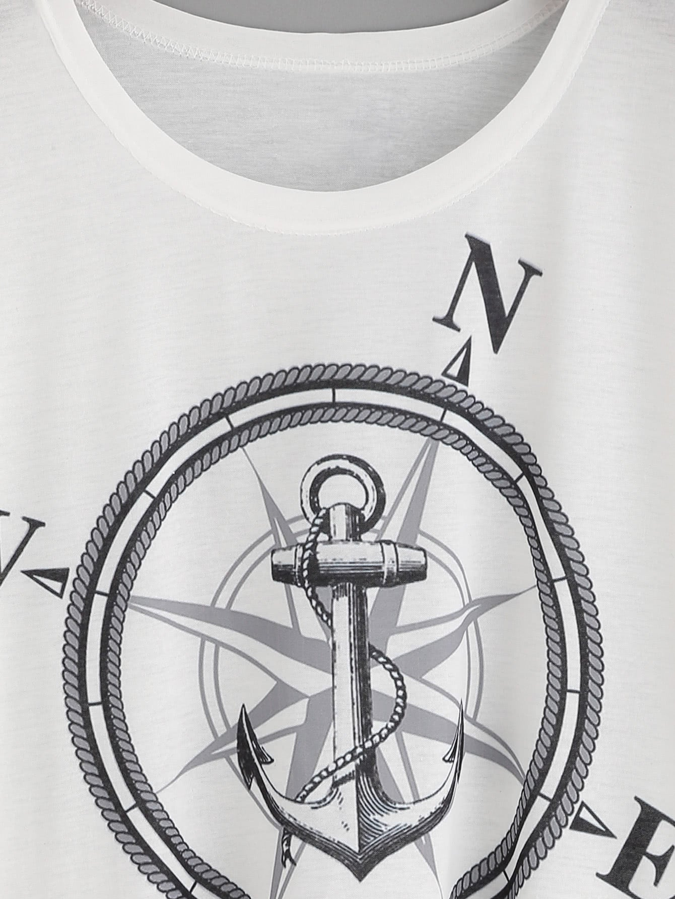 White Compass And Anchor Print High Low T-shirt-AcDrift