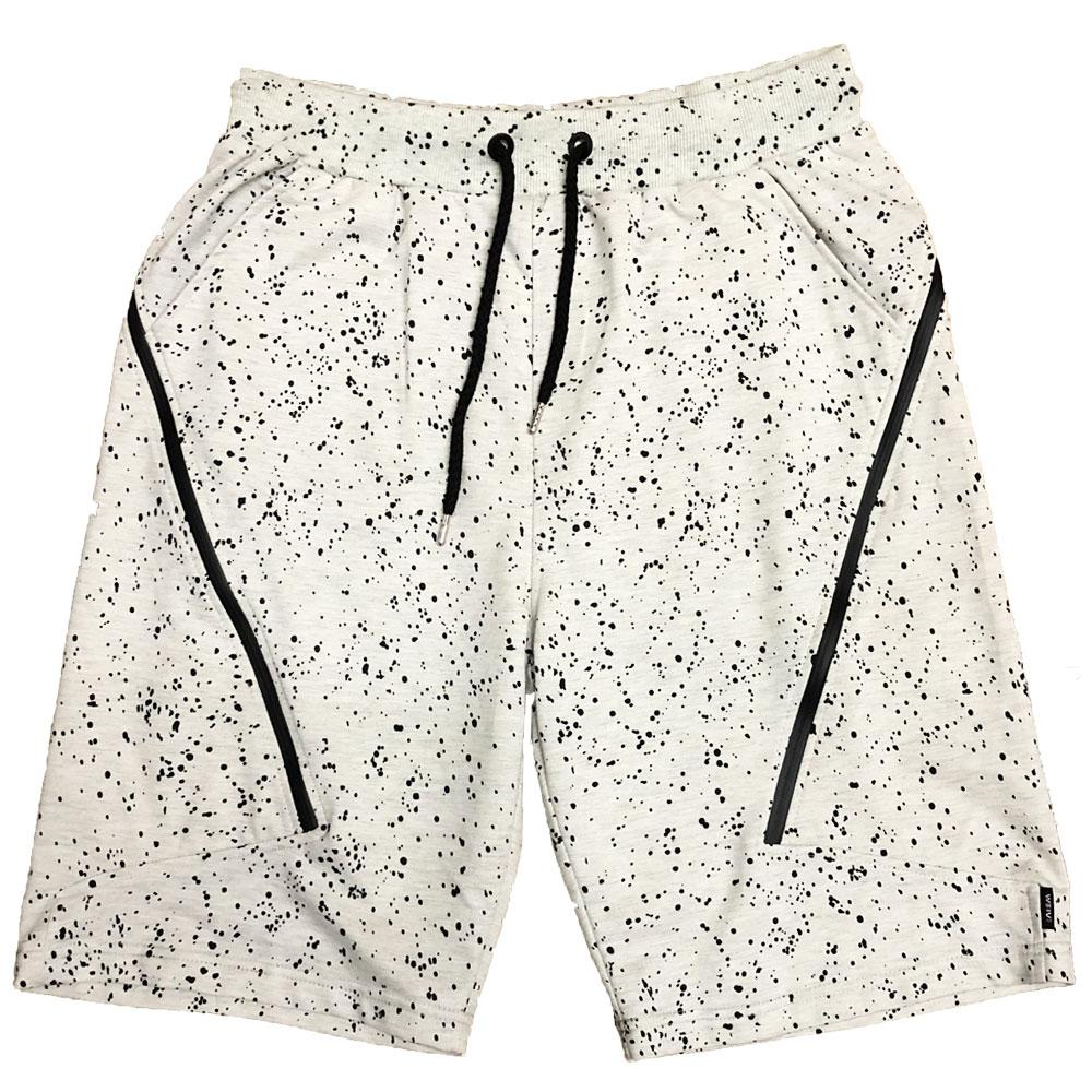 White Splatter Logo Shorts-AcDrift