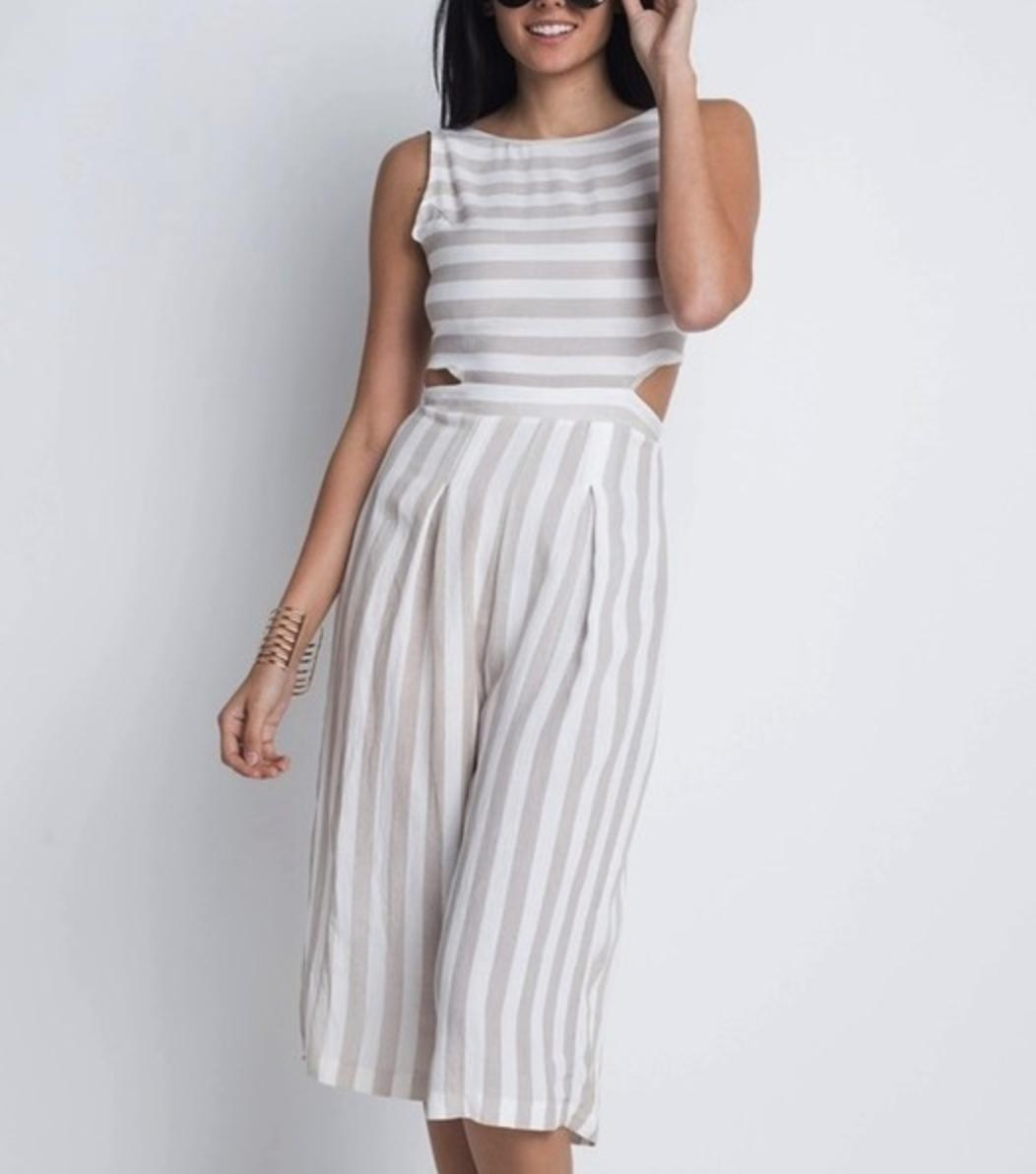 Women's Stripe Cut-Out Sleeveless Jumpsuit-AcDrift