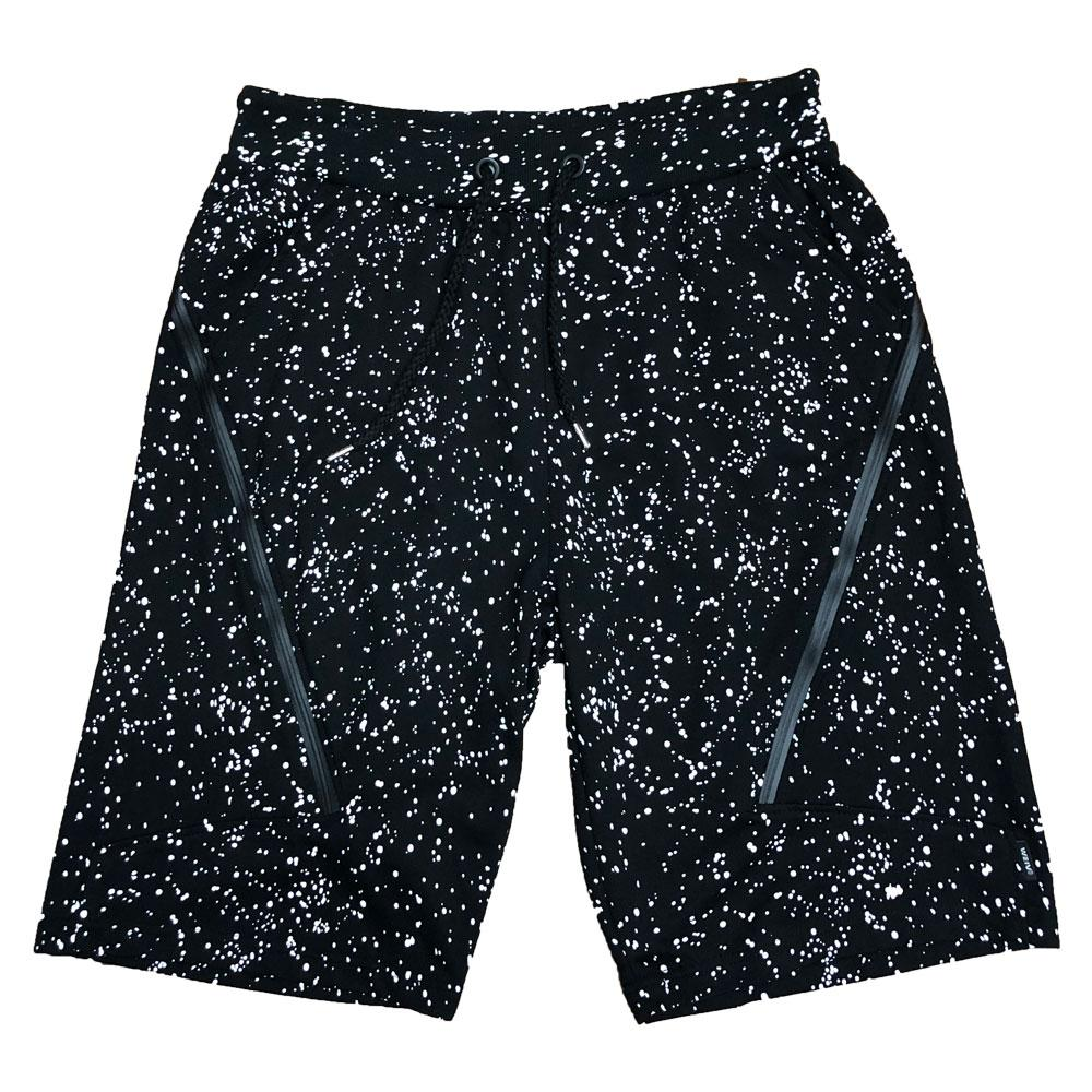 Black Splatter Logo Shorts-AcDrift