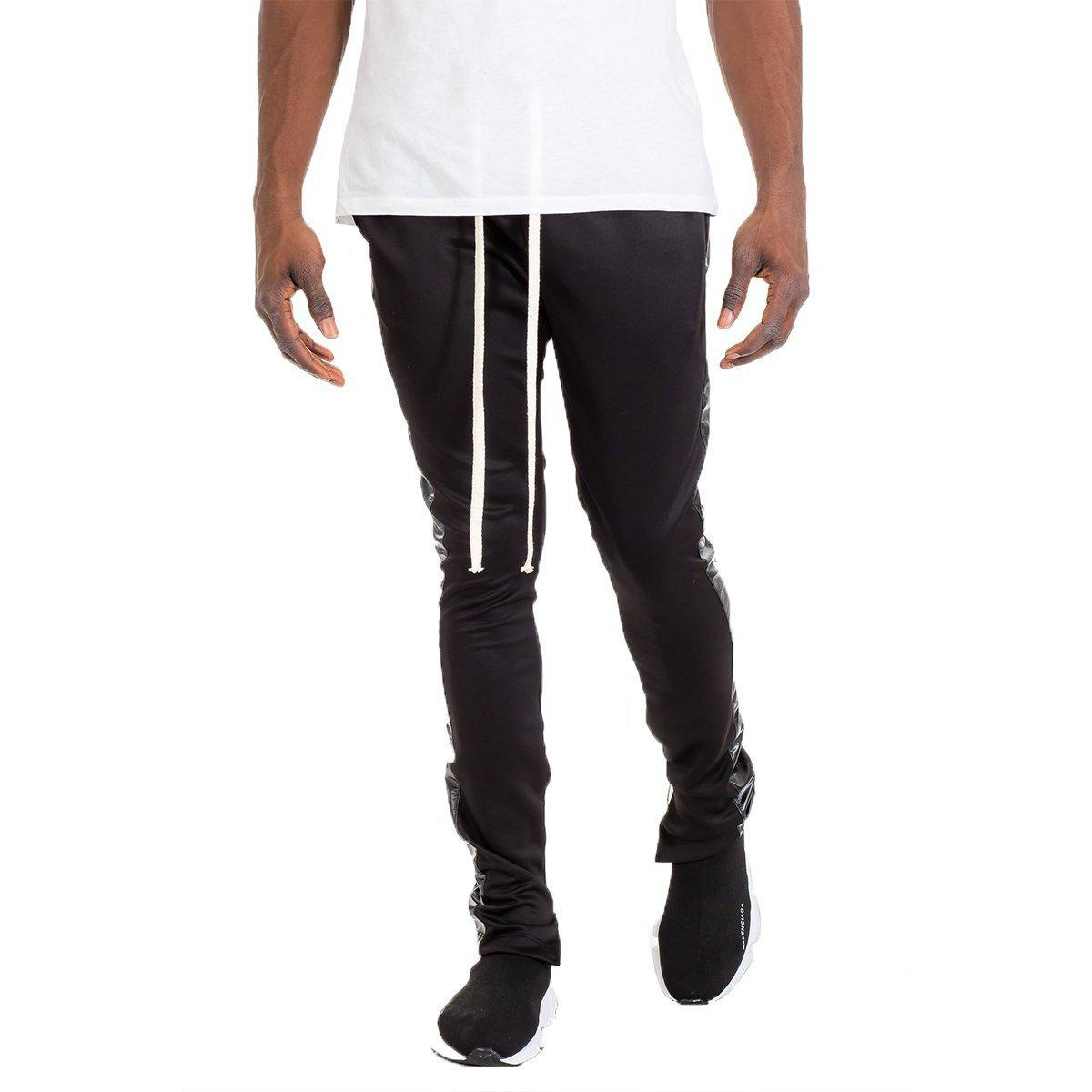 LEATHER TRACK PANTS - BLACK-AcDrift