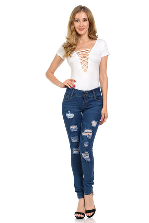 Open image in slideshow, Diamante Women's Jeans - Push Up - WG450-R-AcDrift