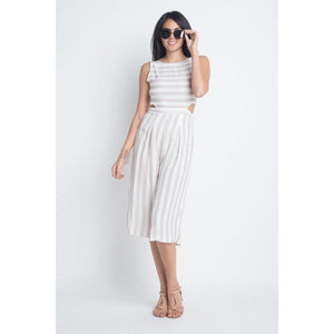 Open image in slideshow, Women's Stripe Cut-Out Sleeveless Jumpsuit-AcDrift