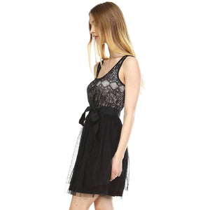 Women's Lacy Tulle Dress with Waist Tie-AcDrift