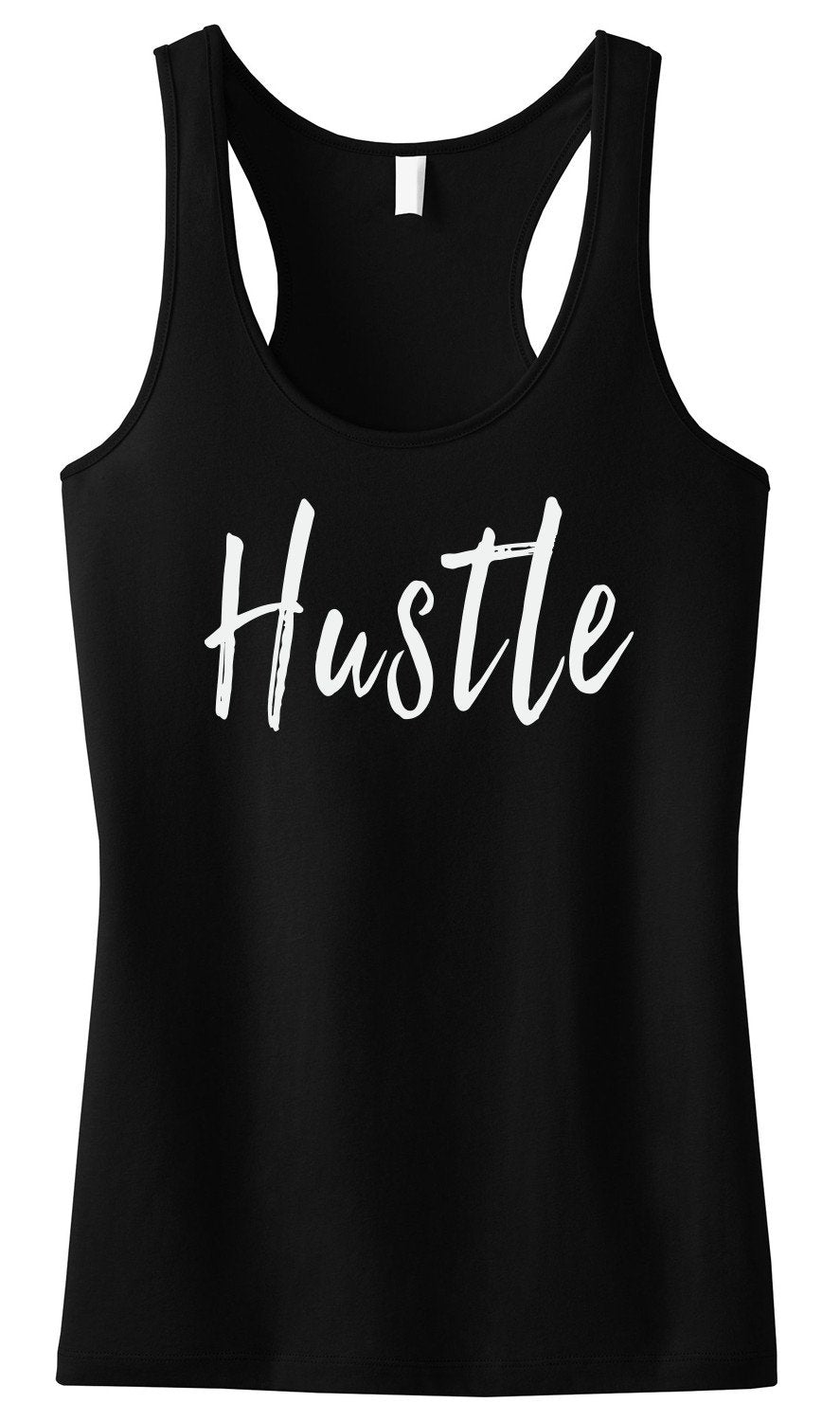 HUSTLE Tank Top Black-AcDrift