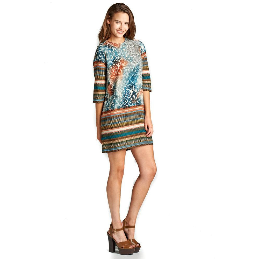 3/4 SLEEVE SHIRT DRESS WITH PRINT-AcDrift