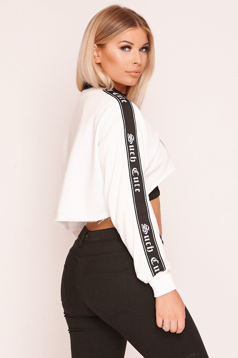 White 'Rockmore' Slogan Cropped Jumper-AcDrift