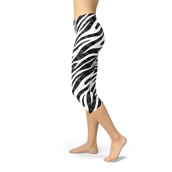Womens Zebra Stripes Capri Leggings-AcDrift