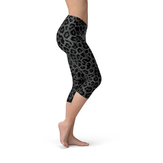 Womens Black Leopard Spots Capri Leggings-AcDrift