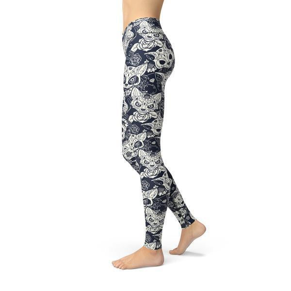 Beverly Cat Sugar Skulls Legging-AcDrift