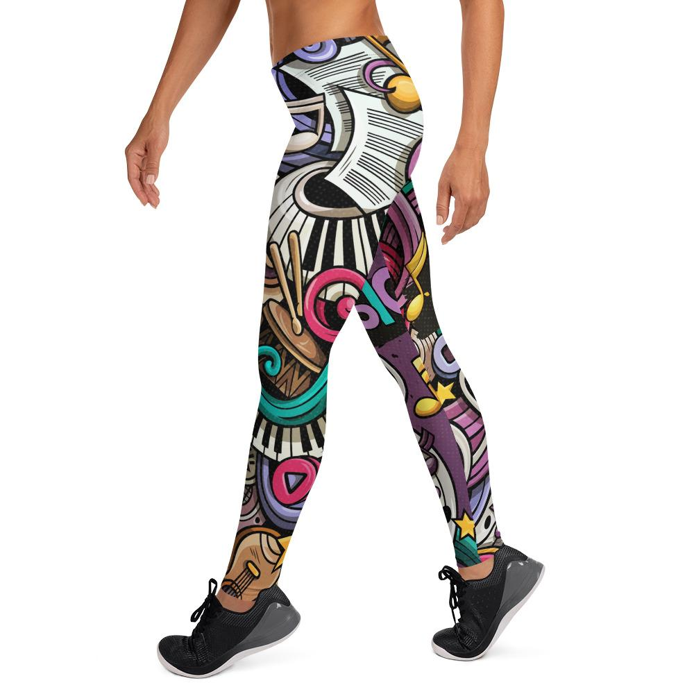 Seamless Music Colorful Leggings-AcDrift